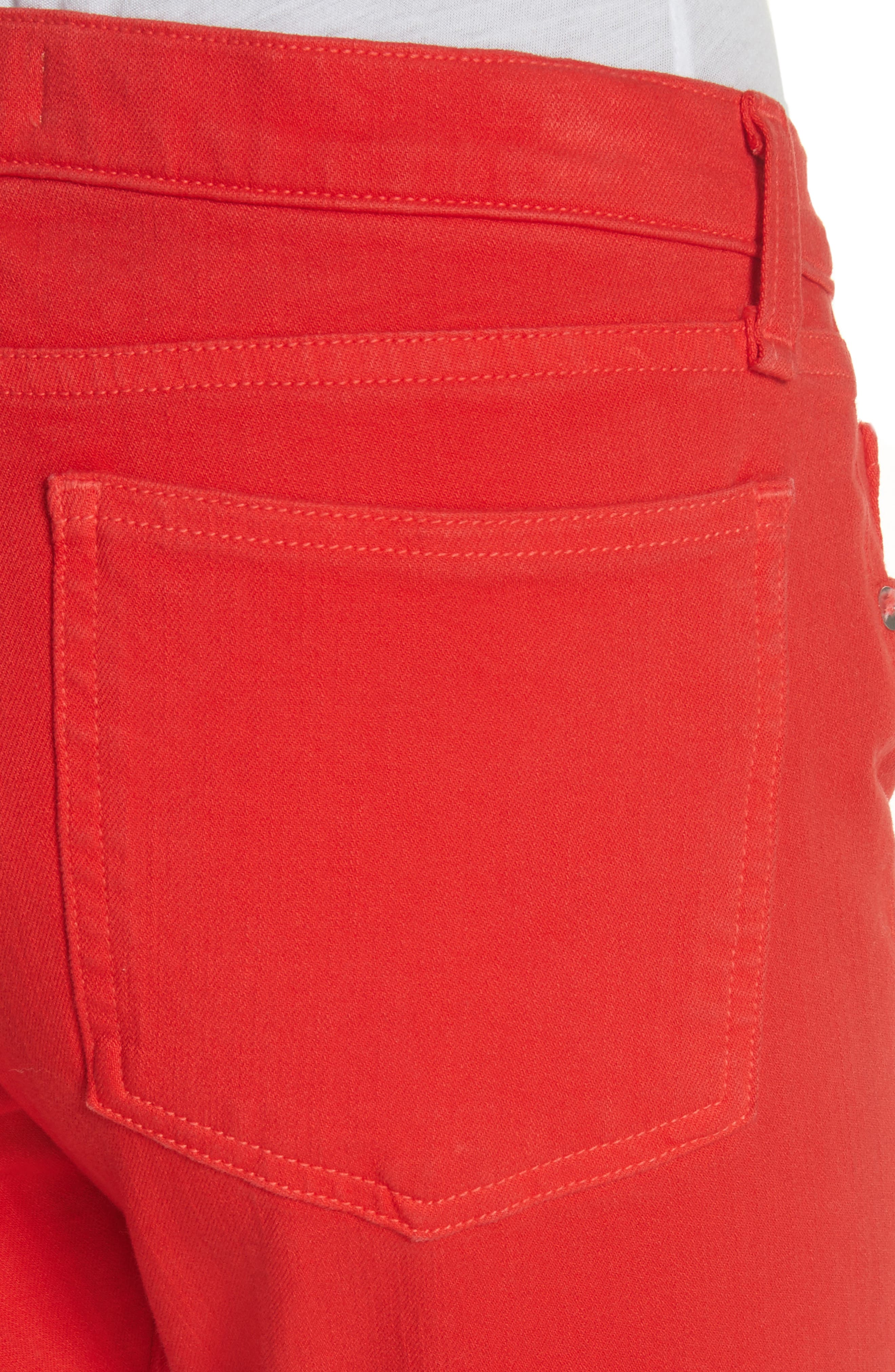 Brook Crop Skinny Jeans,                             Alternate thumbnail 4, color,                             Neon Red