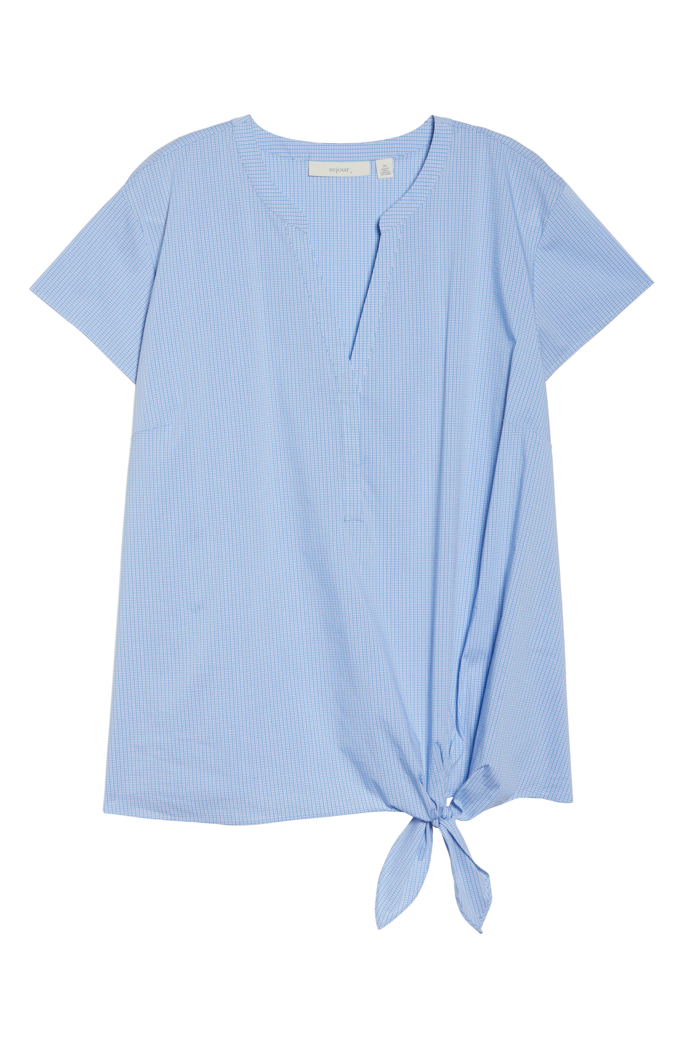 Side Tie Stretch Poplin Top,                             Alternate thumbnail 6, color,                             Blue Lily Plaid