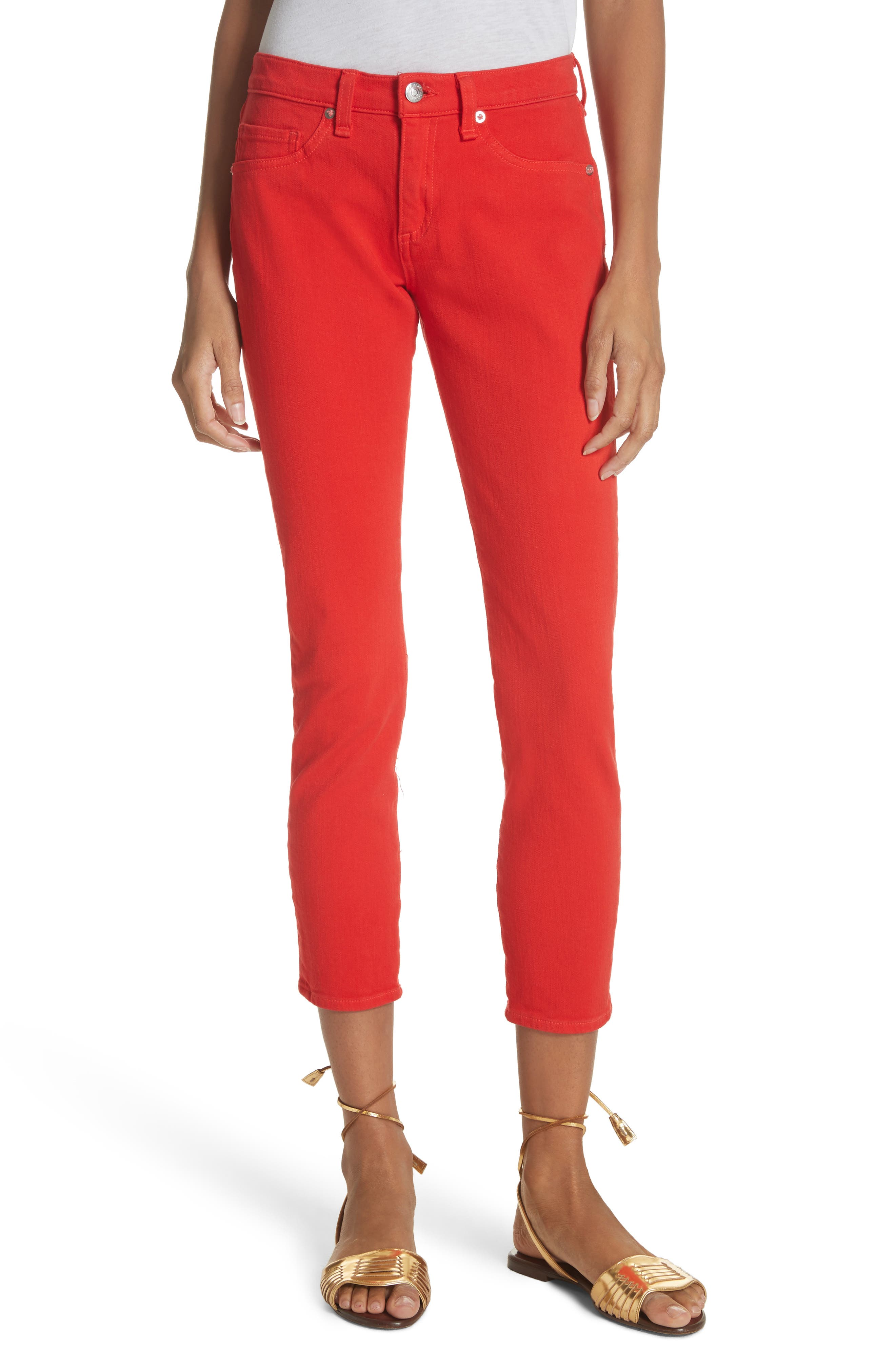 Brook Crop Skinny Jeans,                         Main,                         color, Neon Red