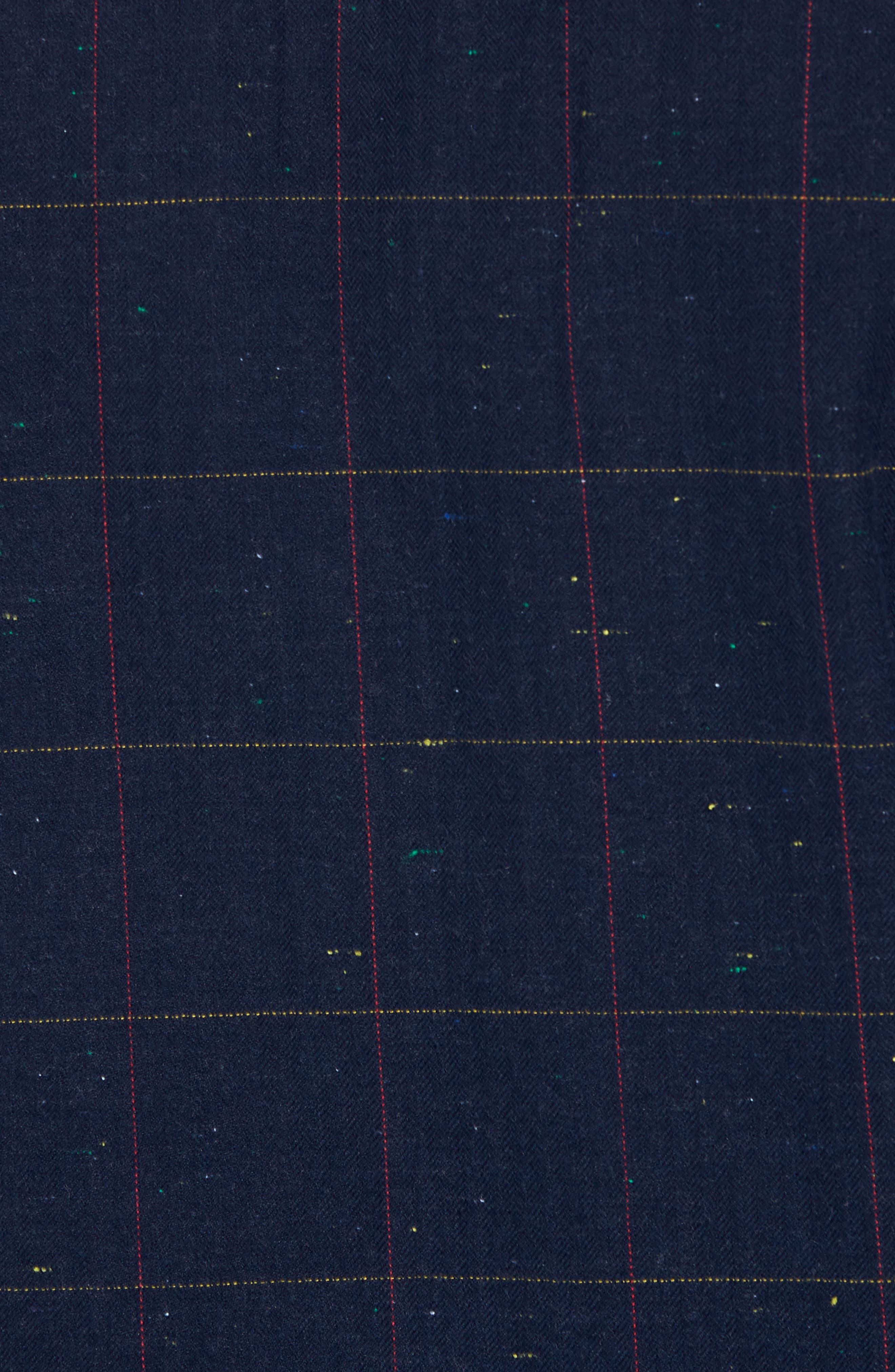 Herringbone Plaid Flannel Shirt,                             Alternate thumbnail 5, color,                             Black - White Nepped Tartan