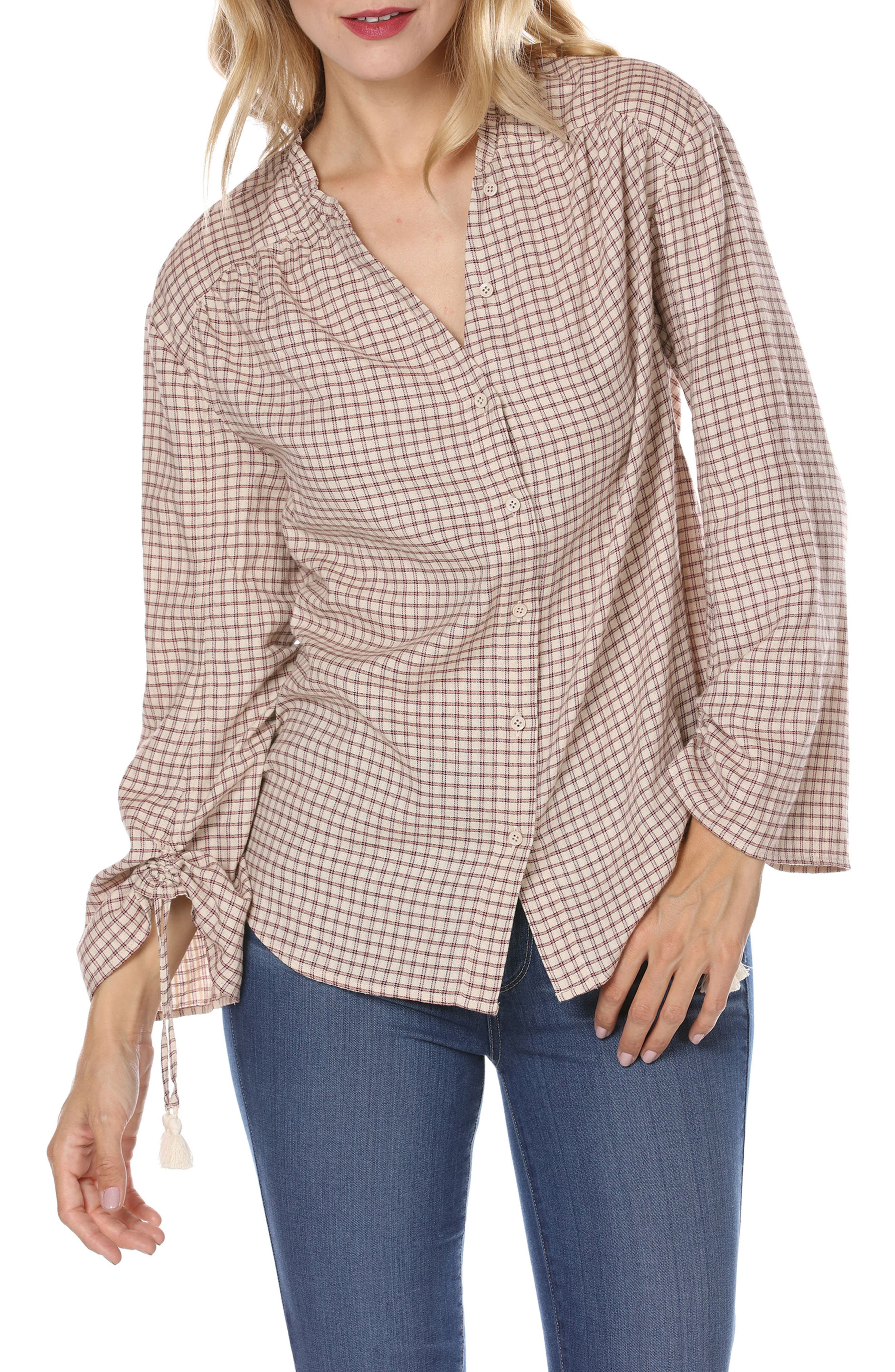 Torin Check Blouse,                         Main,                         color, Sandy Shell/ Spice