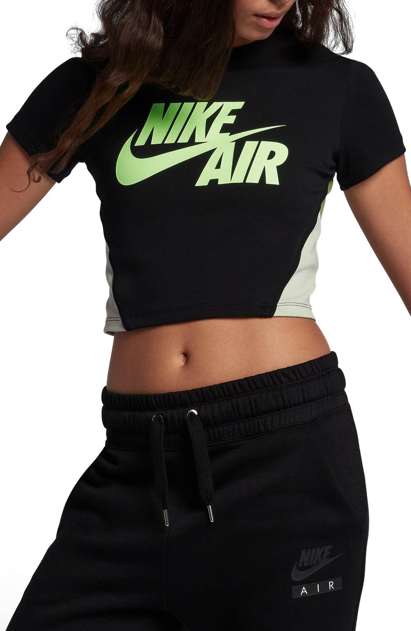 Sportswear Stretch Jersey Crop Top,                             Alternate thumbnail 3, color,                             Black/Neutral Olive/Barely Vol
