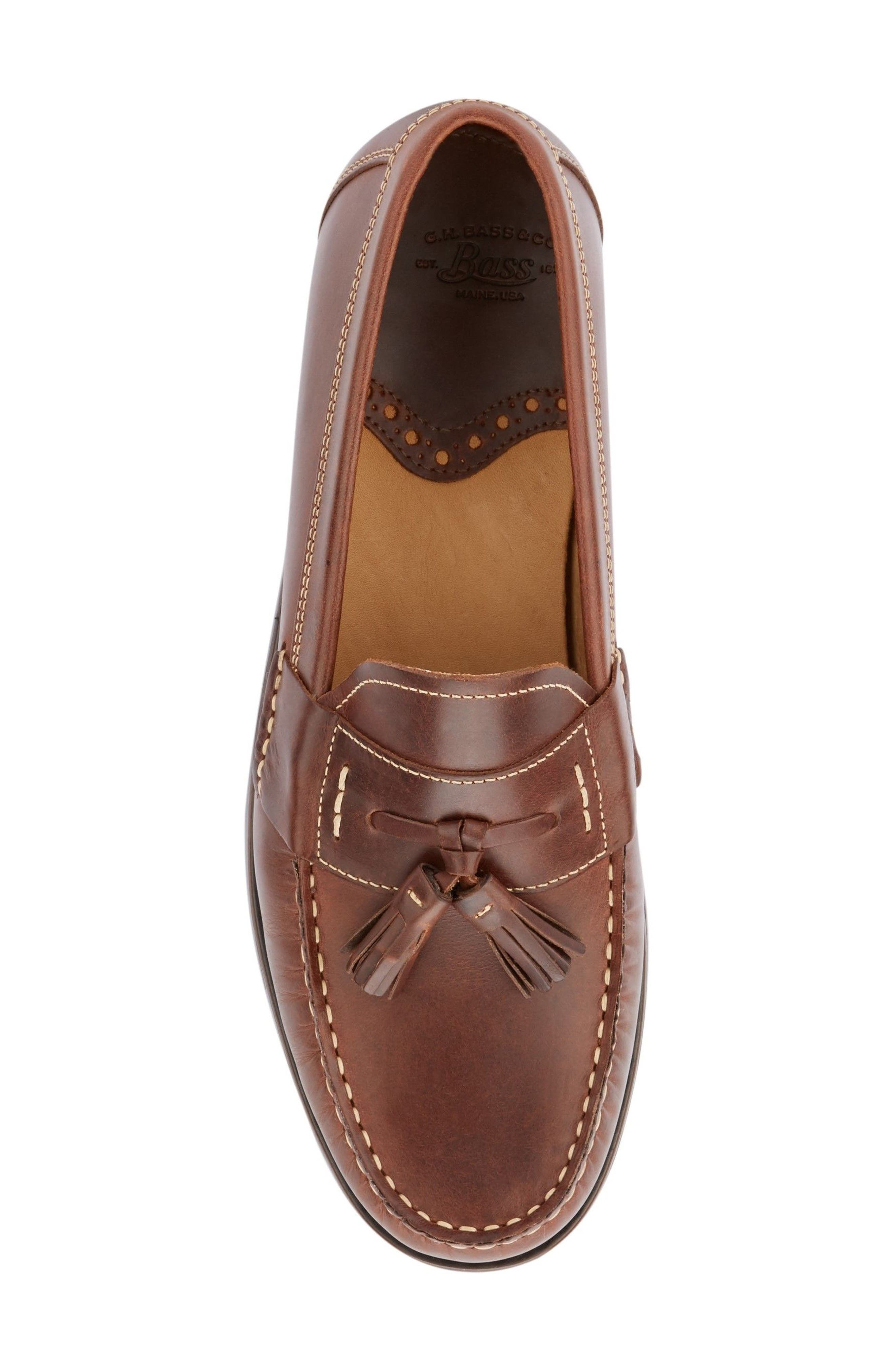Wallace Tassel Loafer,                             Alternate thumbnail 5, color,                             Dark Brown Leather