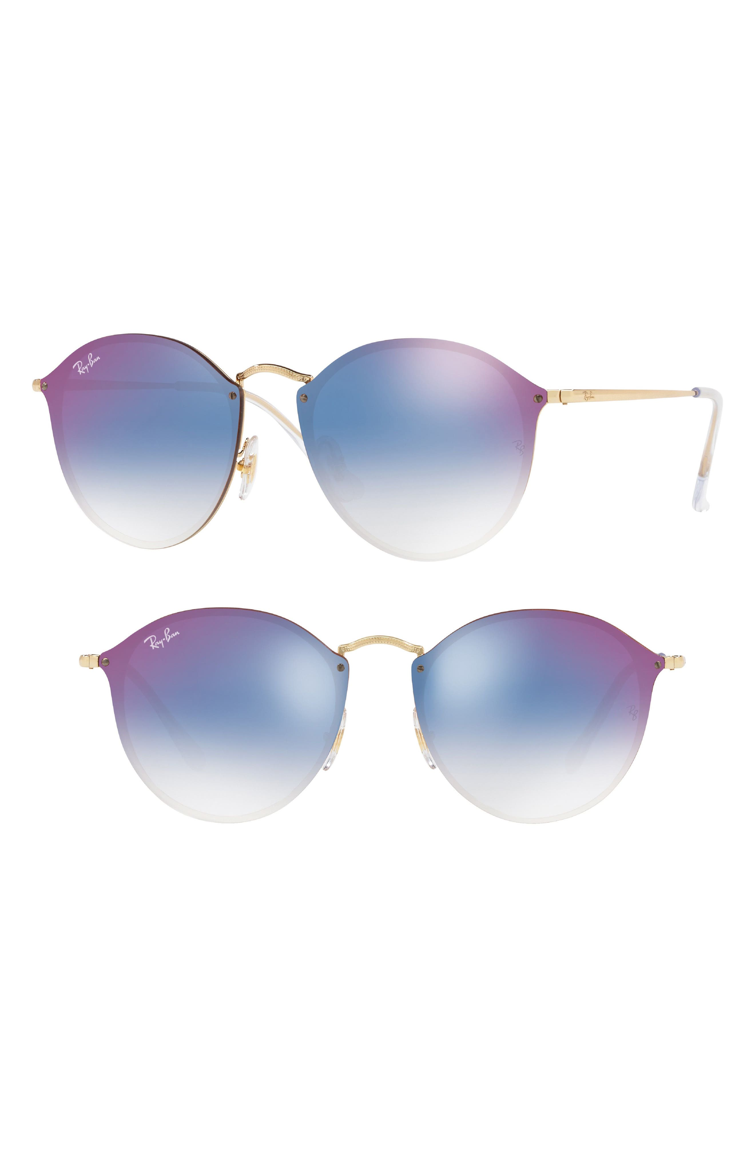Blaze 59mm Round Mirrored Sunglasses,                         Main,                         color, Gold