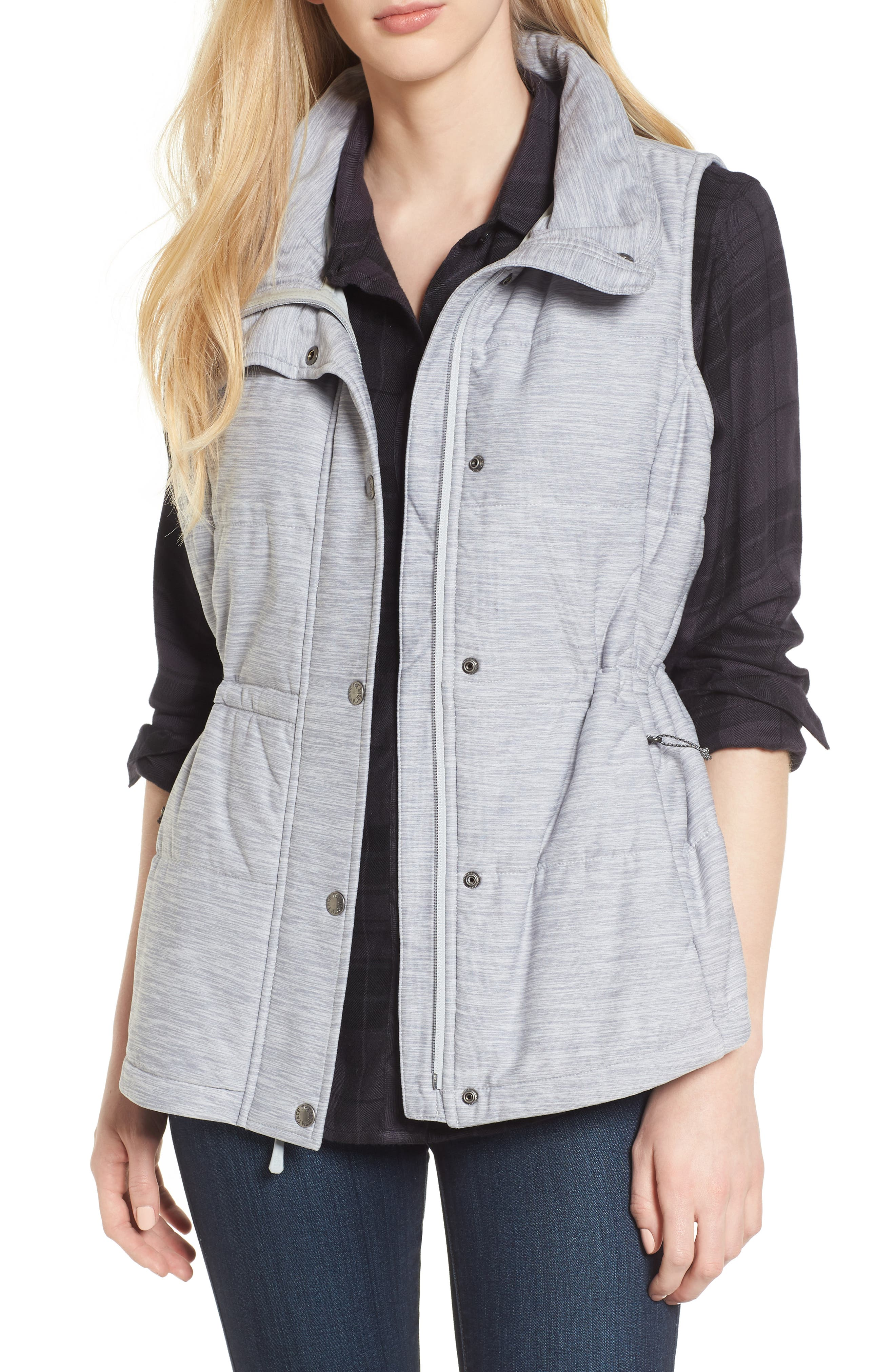 'Pseudio' Quilted Vest,                             Main thumbnail 1, color,                             Light Grey Heather