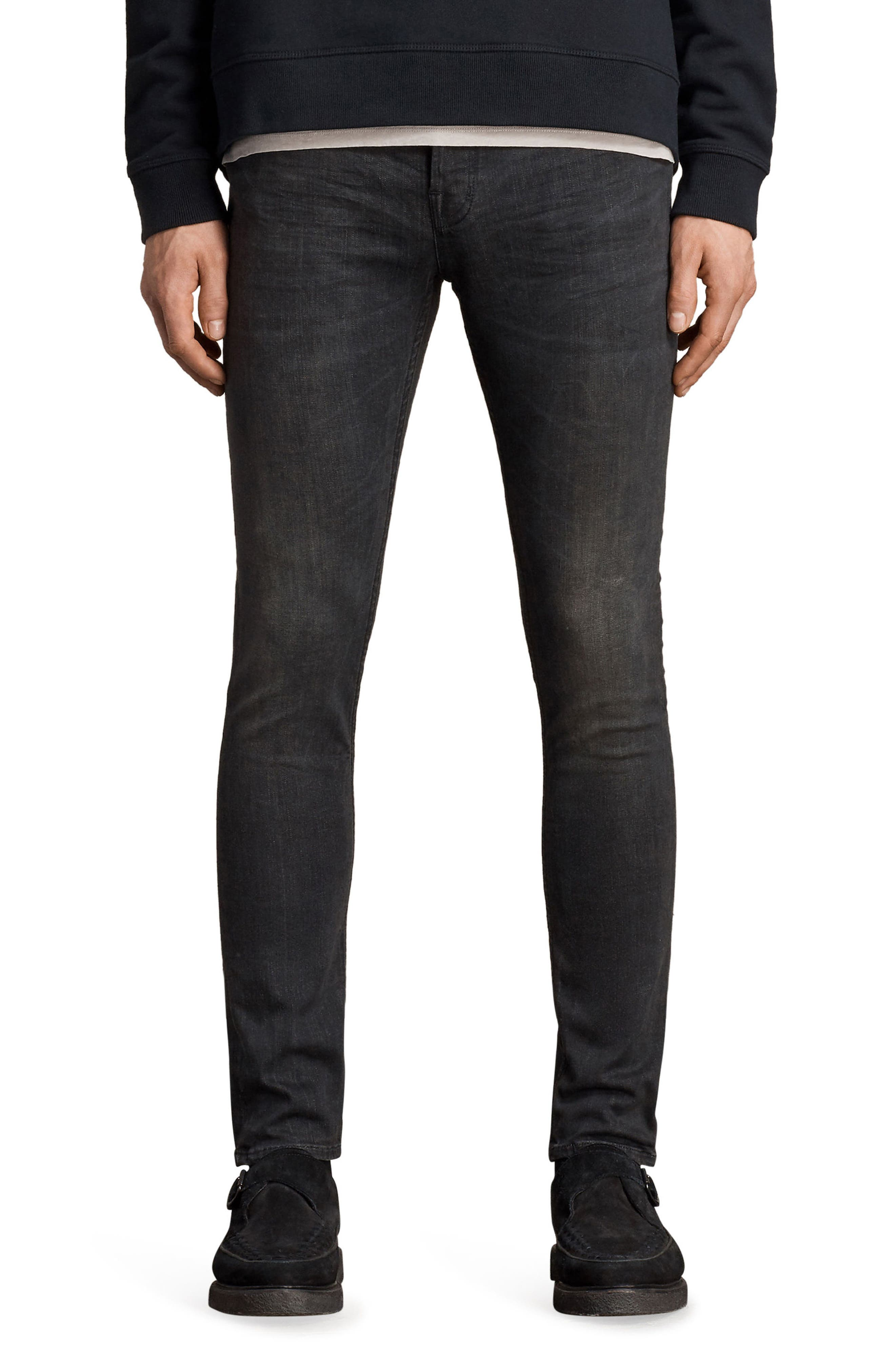 Print Skinny Fit Jeans,                         Main,                         color, Black