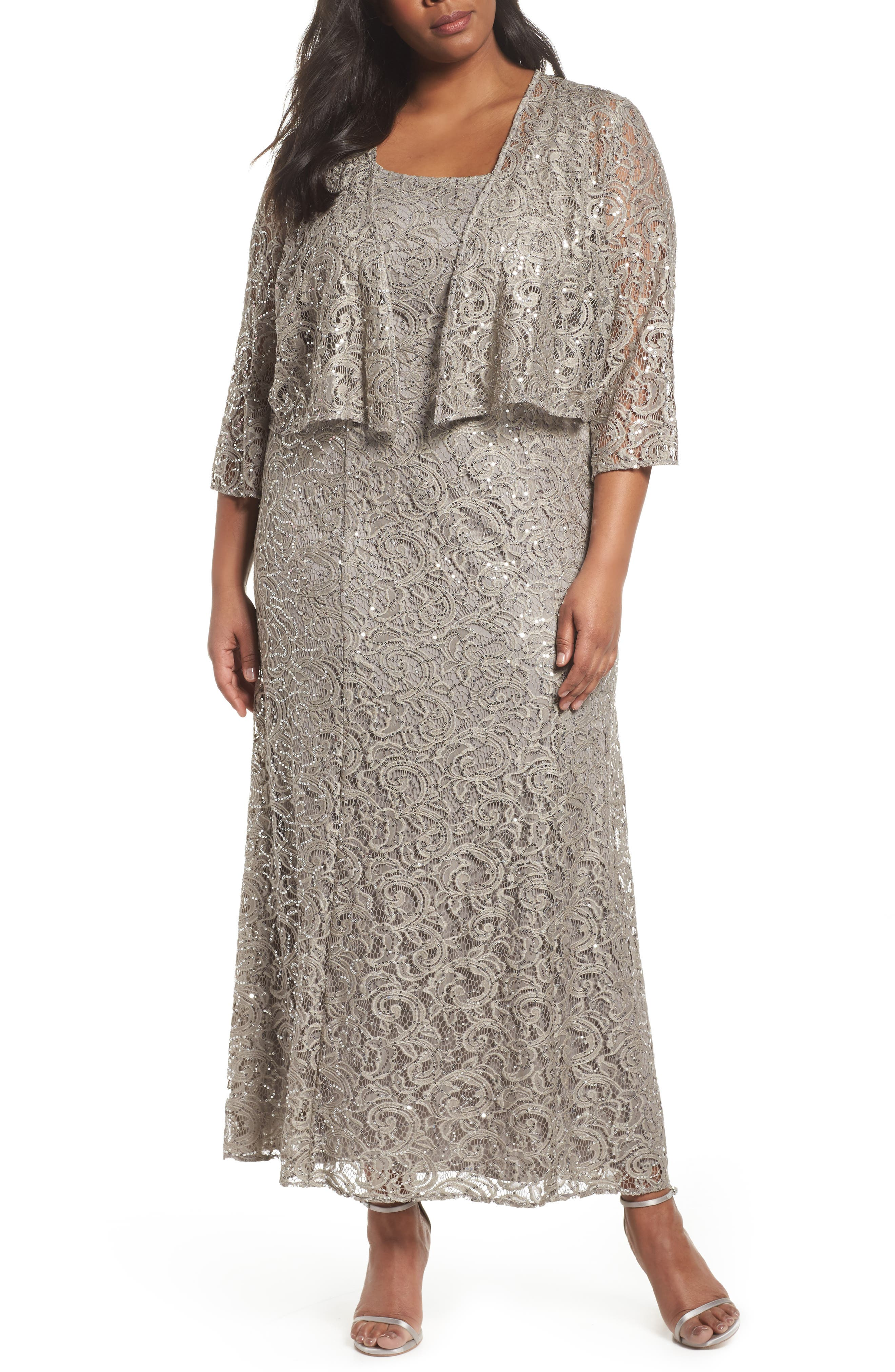 Lace & Sequin Jacket Dress,                             Main thumbnail 1, color,                             Pewter Frost