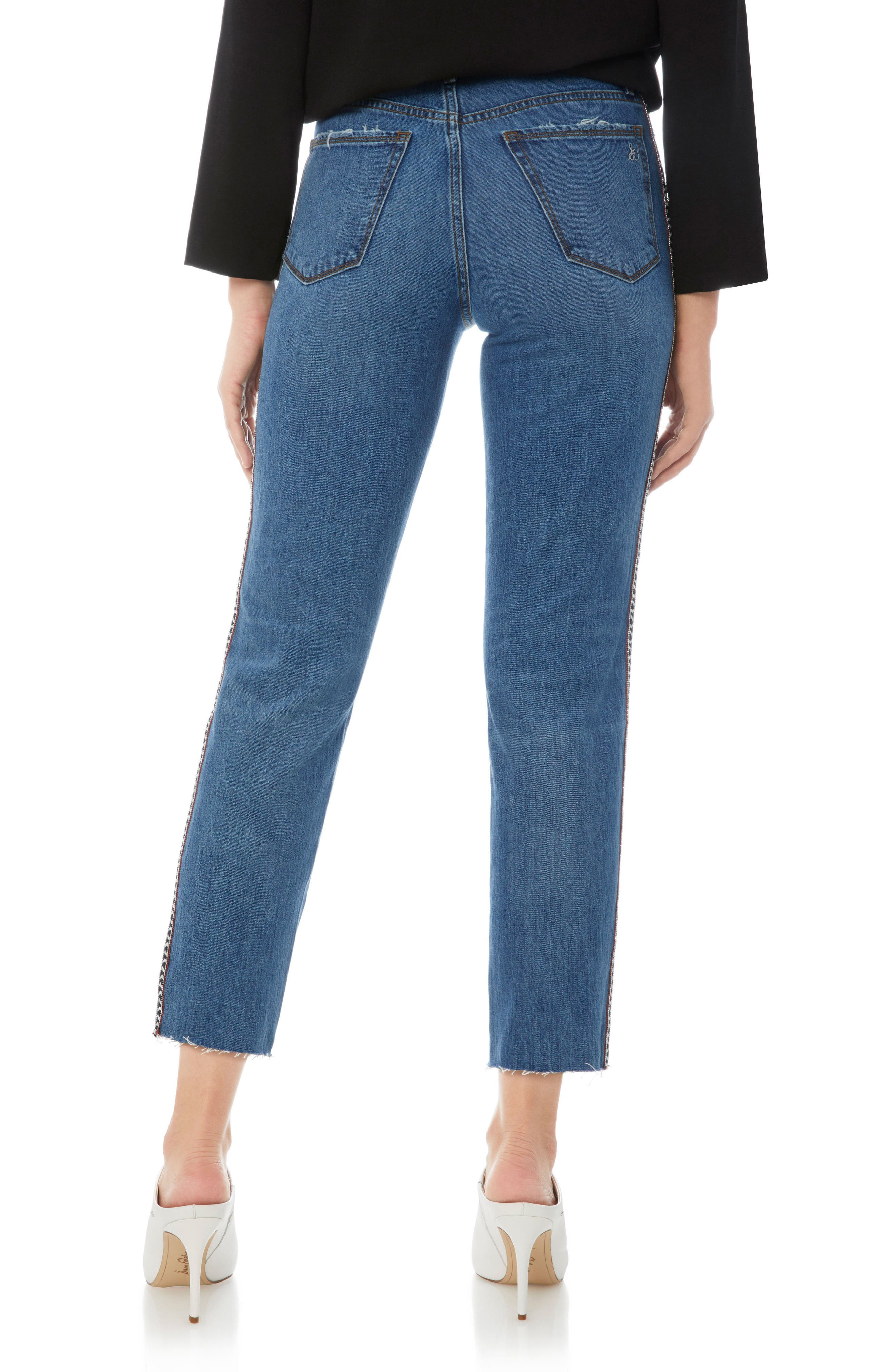 Mary Jane Raw Edge Crop Jeans,                             Alternate thumbnail 2, color,                             Tania