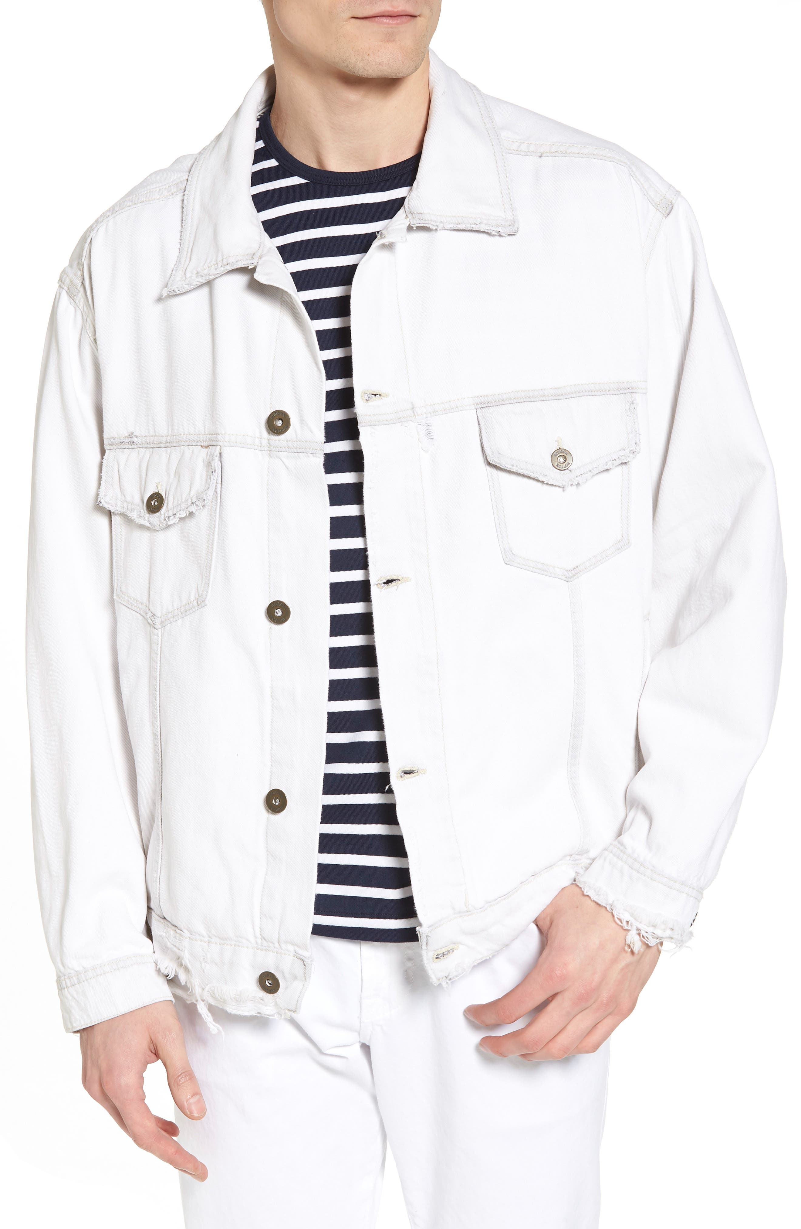 Hudson Denim Trucker Jacket,                         Main,                         color, Extracted White