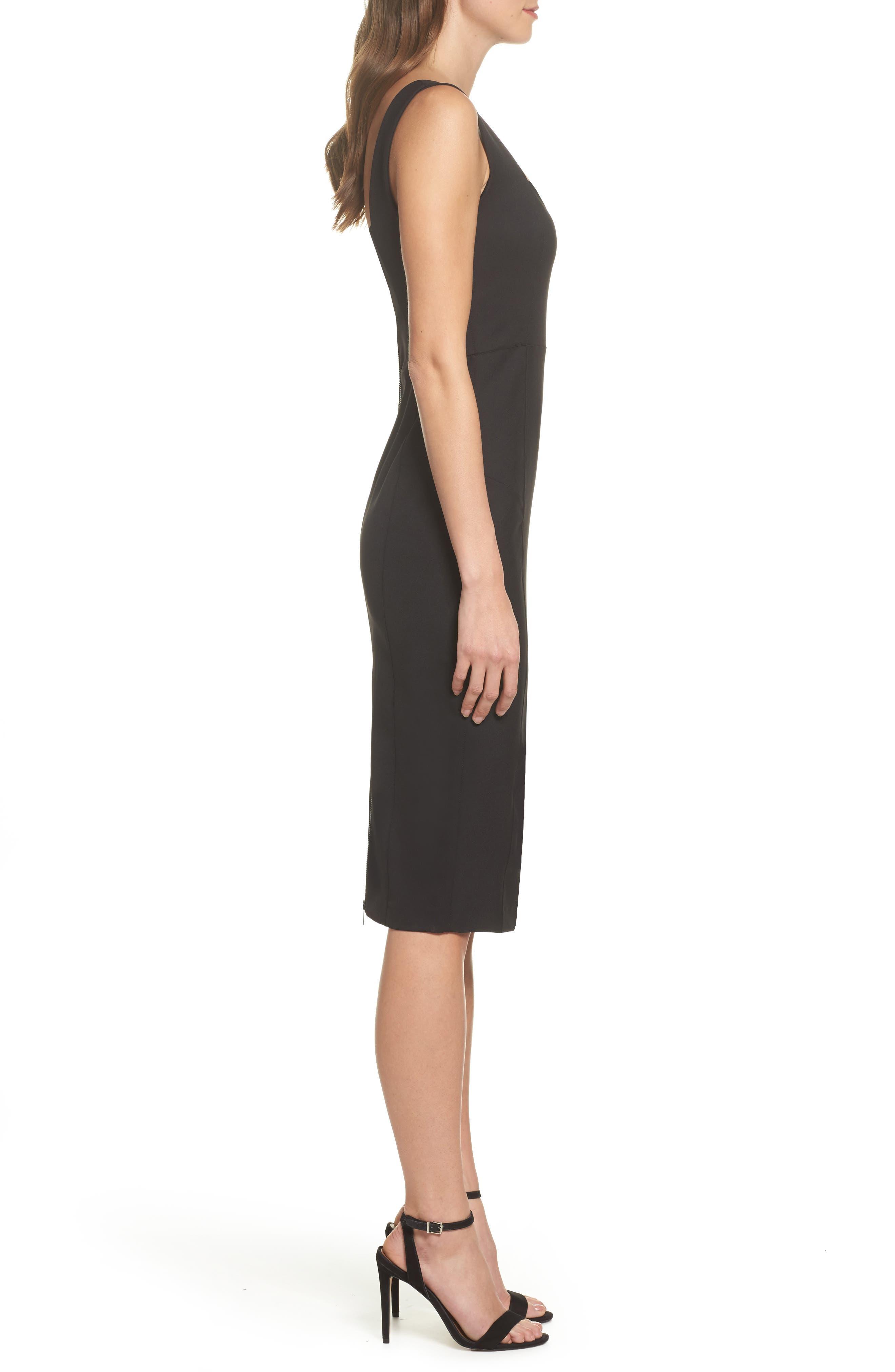 Mirren Midi Body-Con Dress,                             Alternate thumbnail 3, color,                             Black