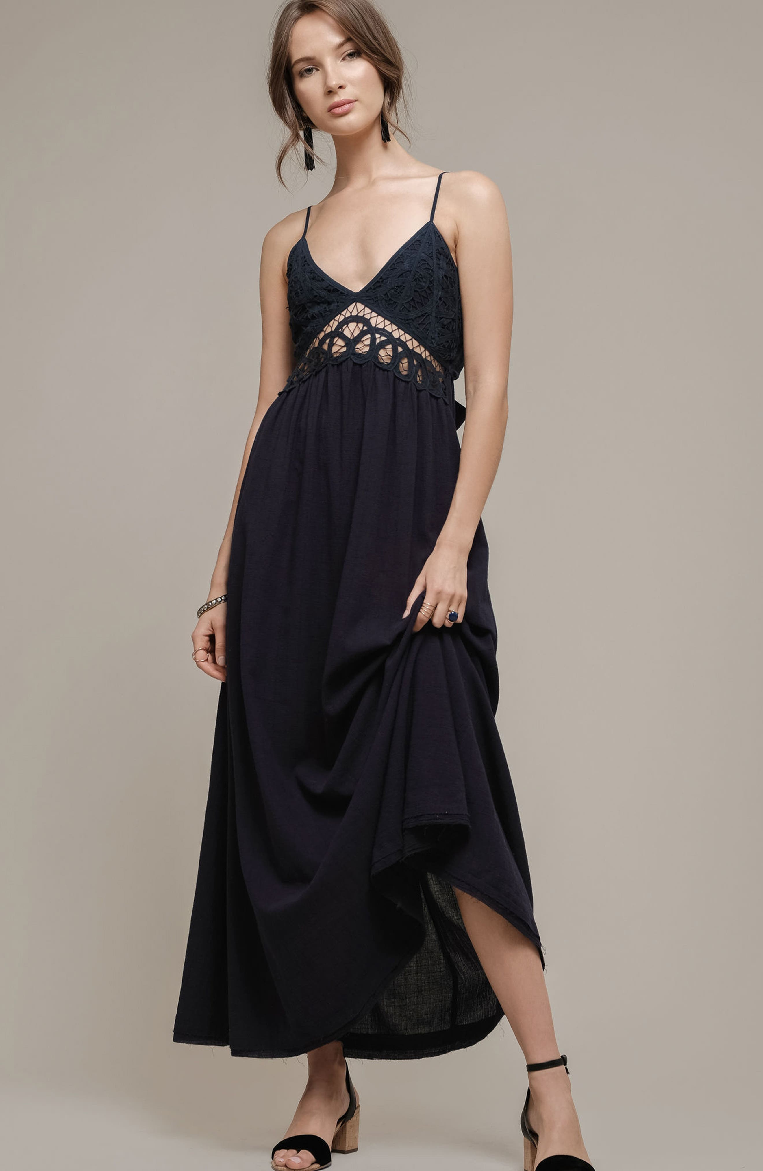 Lace Inset Empire Waist Maxi Dress,                             Alternate thumbnail 2, color,                             Navy