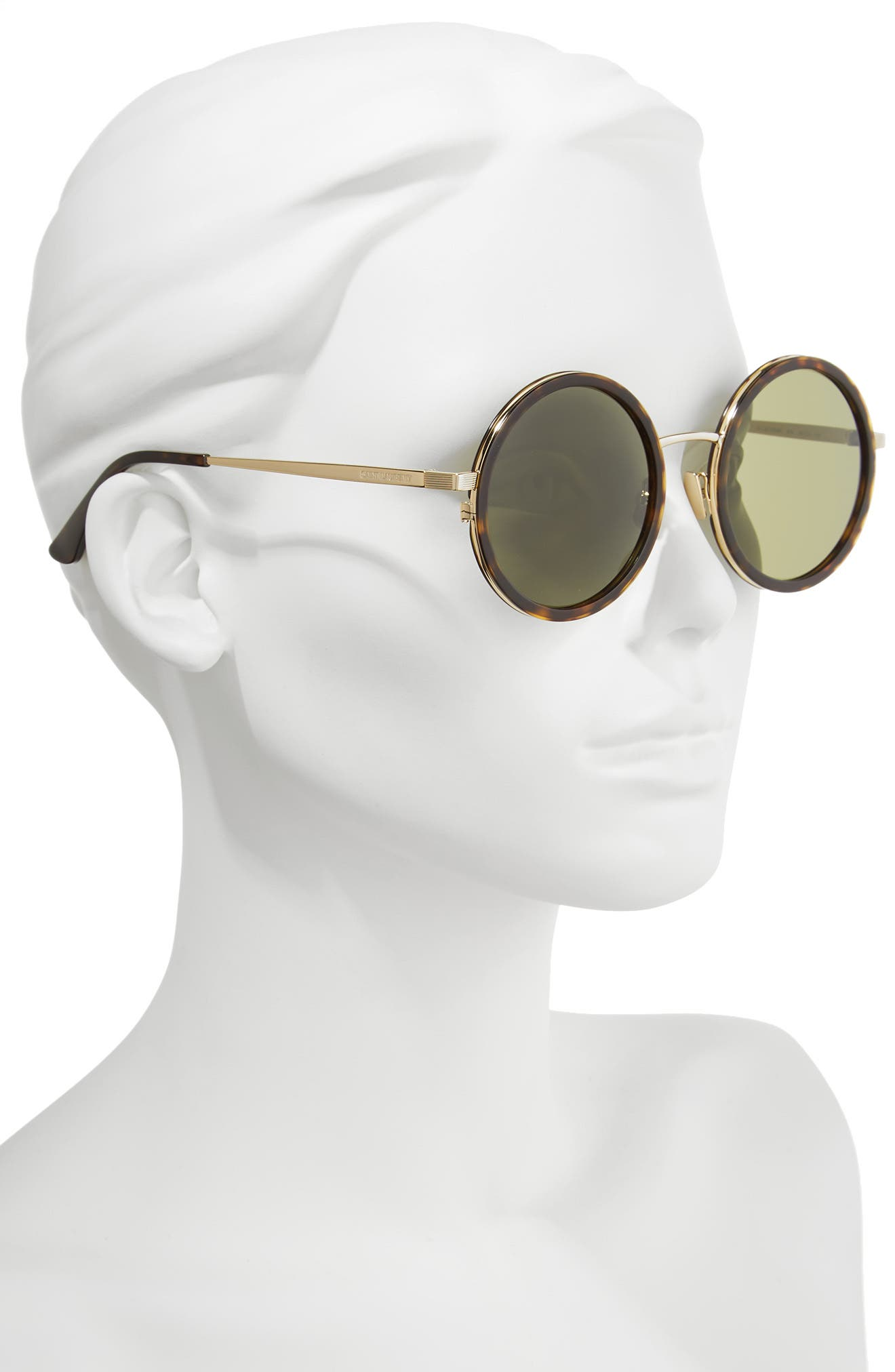52mm Round Sunglasses,                             Alternate thumbnail 2, color,                             Havana