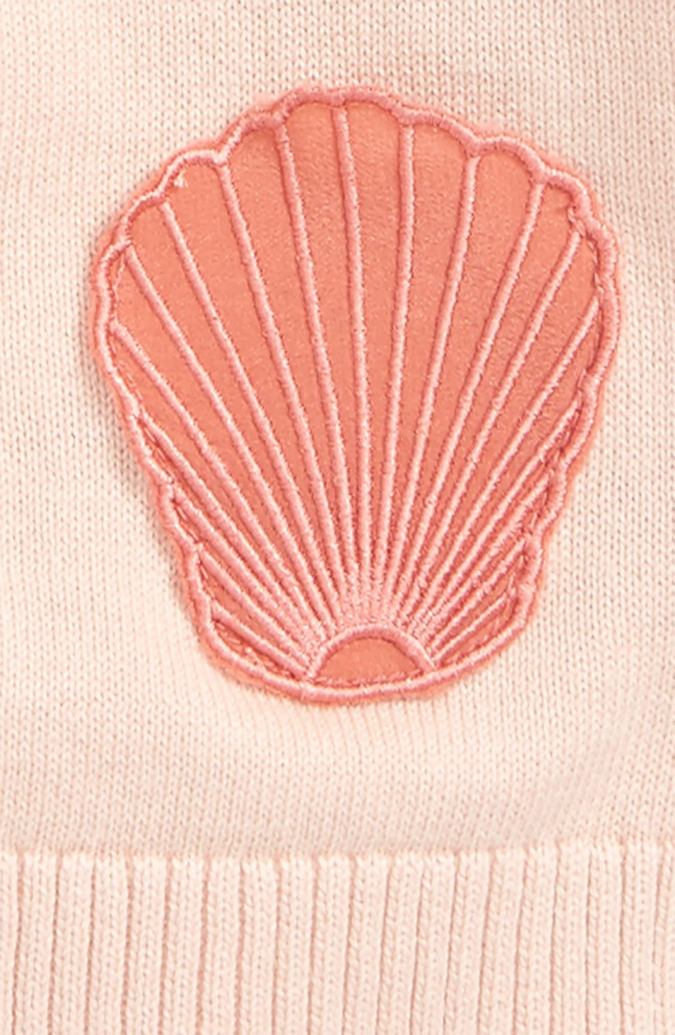 Lauren Seashell Patch Cardigan,                             Alternate thumbnail 2, color,                             Dusky Rose