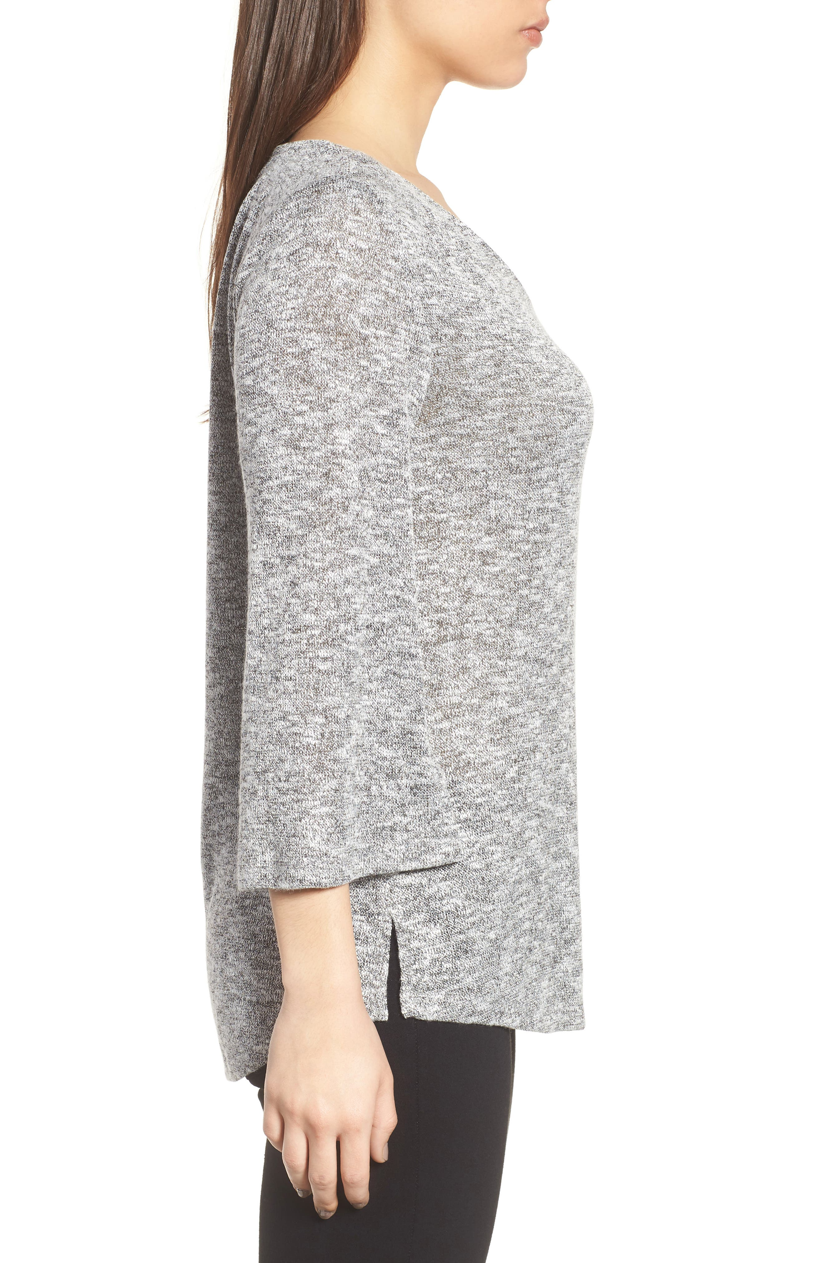 Sparkle Heathered V-Neck Top,                             Alternate thumbnail 3, color,                             050-Grey Heather