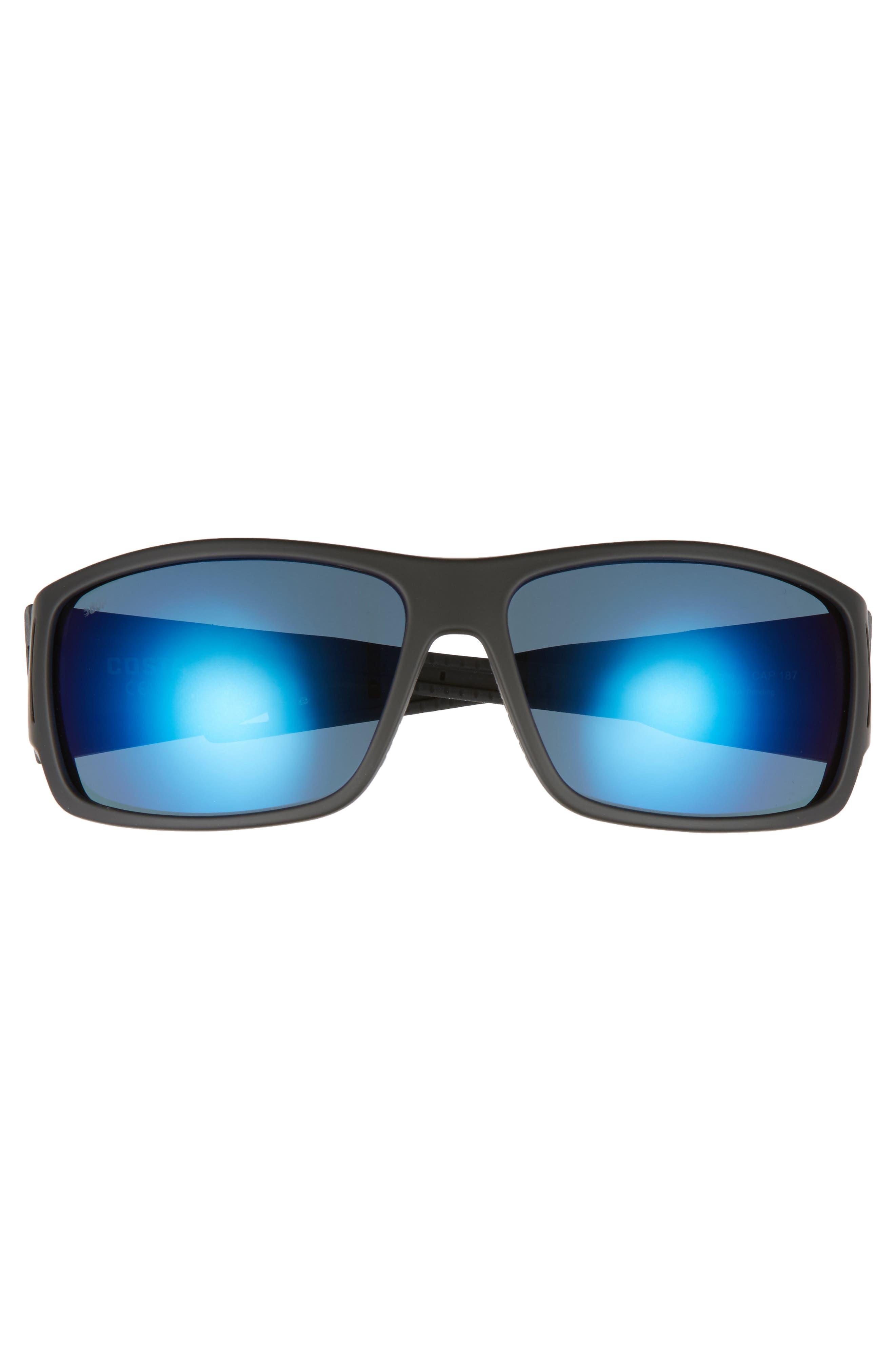 Cape 68mm Polarized Sunglasses,                             Alternate thumbnail 2, color,                             Matte Black/ Blue Mirror