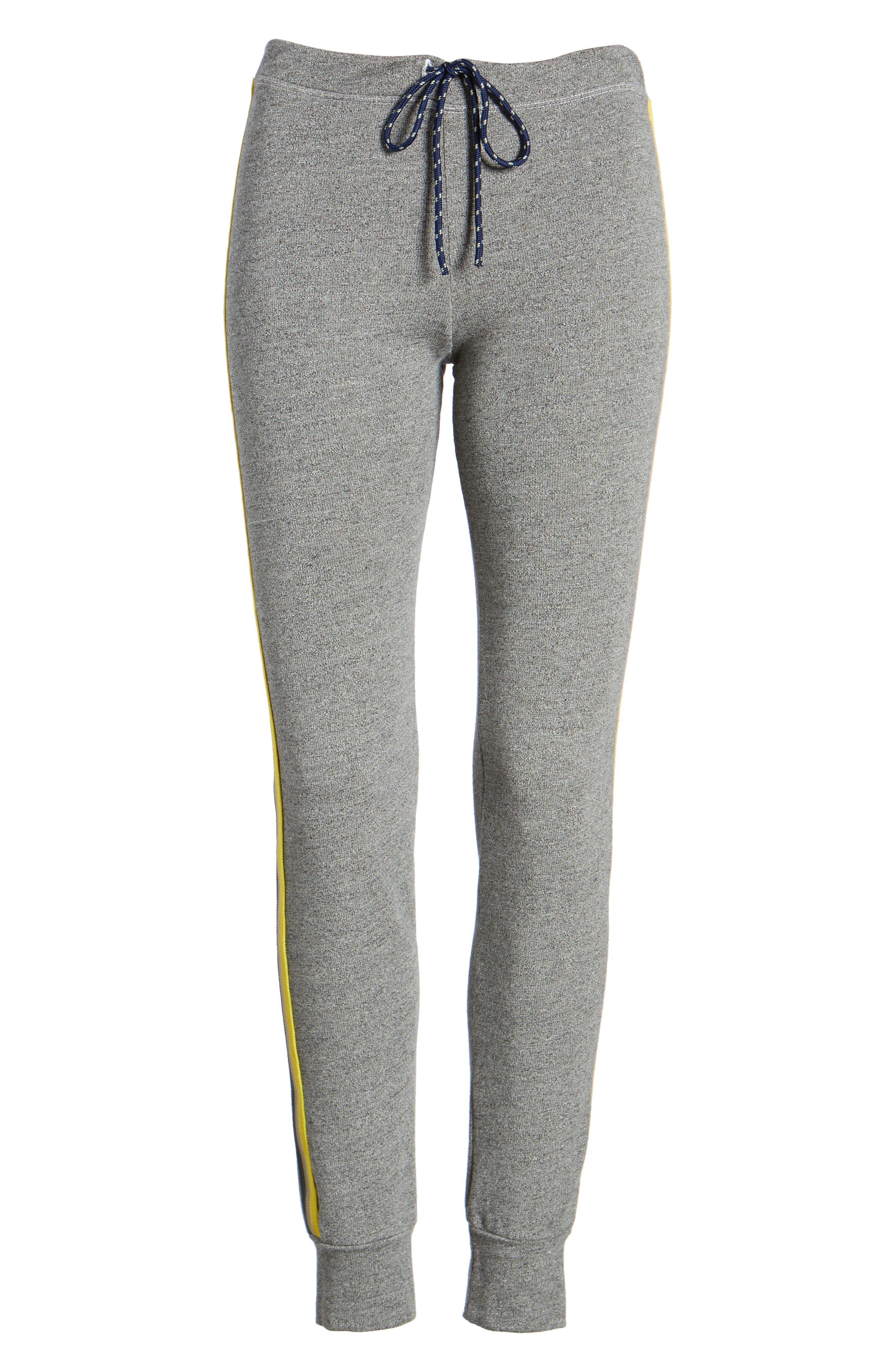 Stripe Trim Skinny Sweatpants,                             Alternate thumbnail 7, color,                             Heather Grey