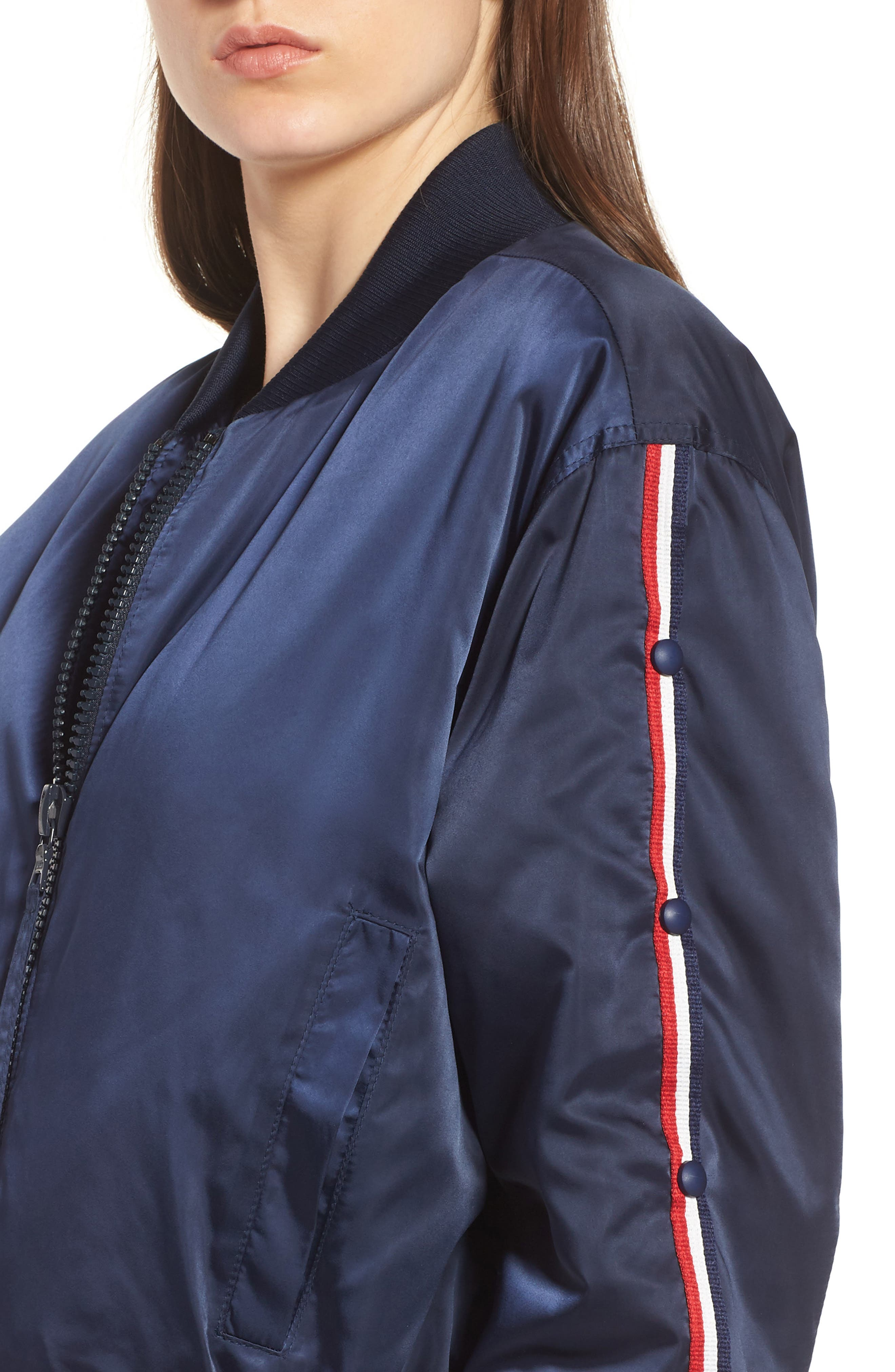 Bomber Jacket,                             Alternate thumbnail 4, color,                             Navy/ Red/ White