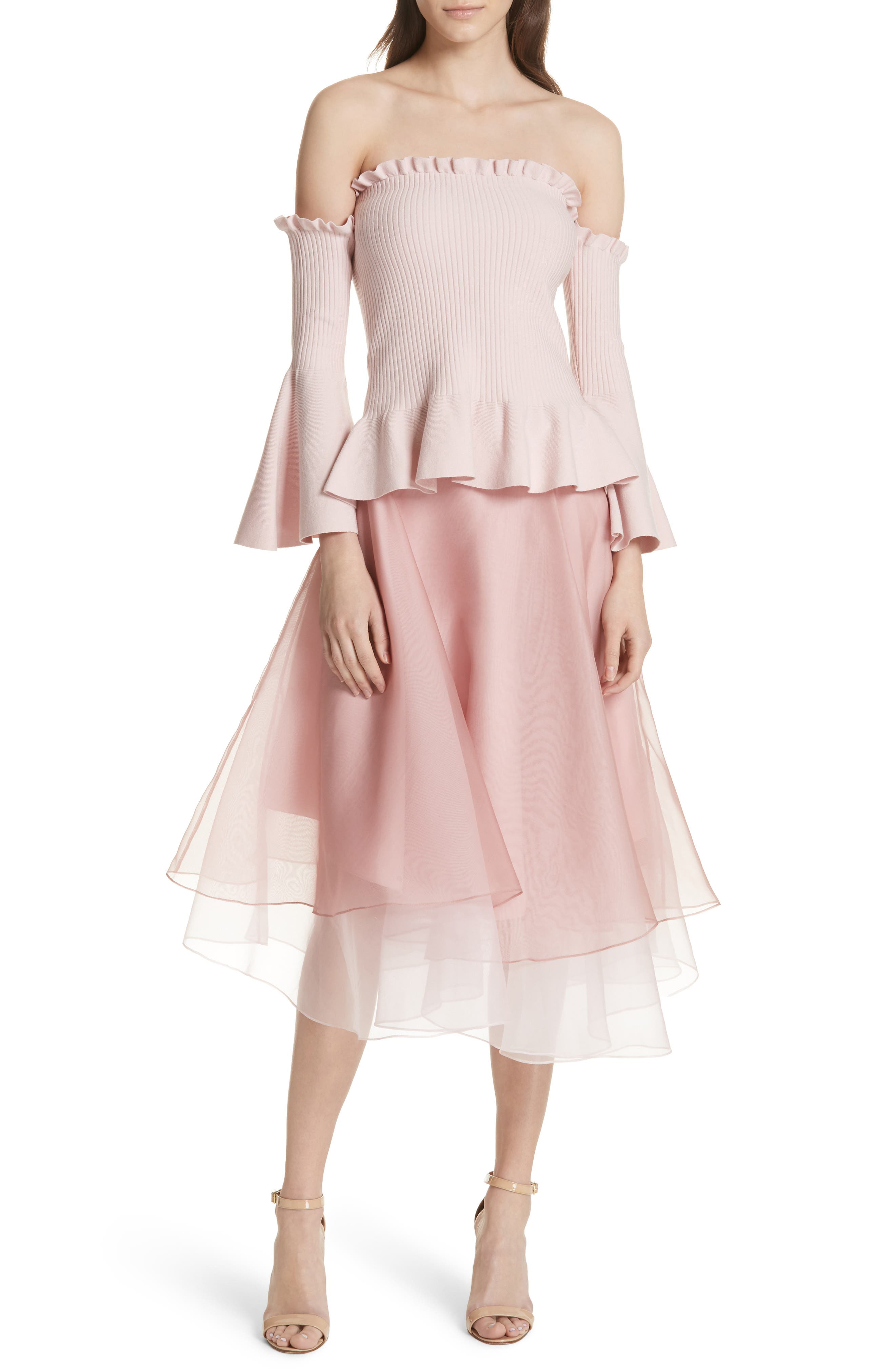 Layered Organza A-Line Skirt,                             Alternate thumbnail 7, color,                             Nude/ Petal