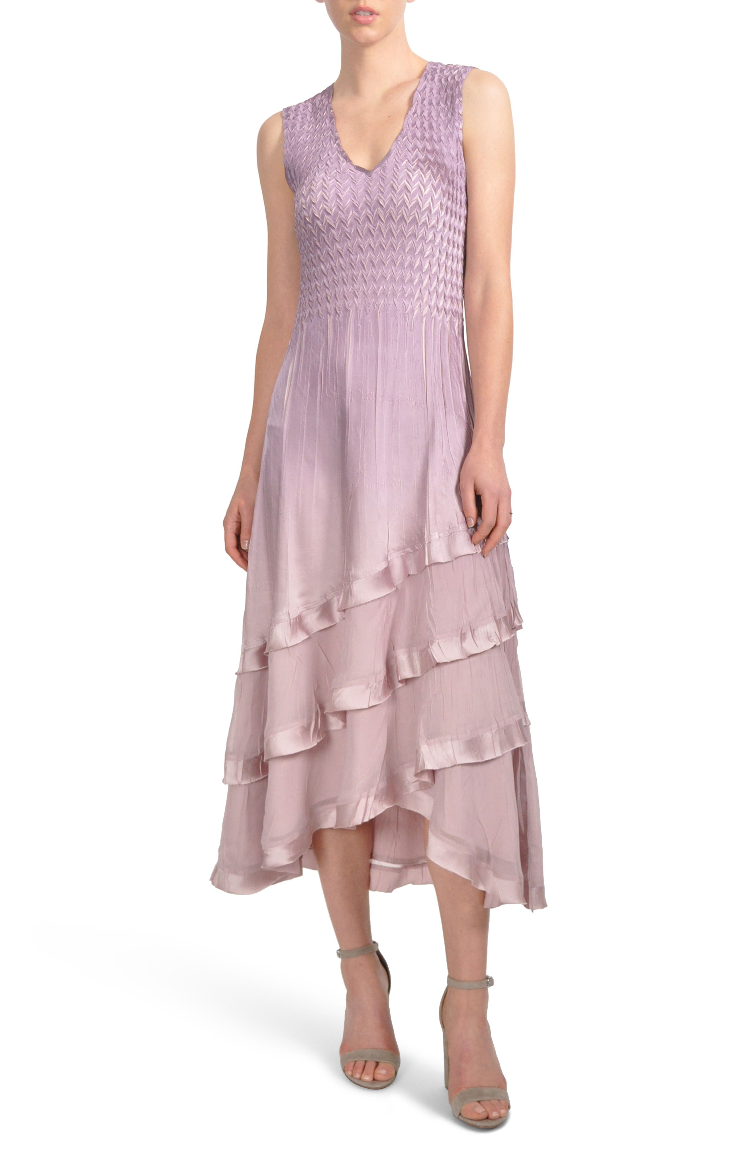 Tiered Hem Dress with Jacket,                             Alternate thumbnail 5, color,                             Lotus Orchid Ombre