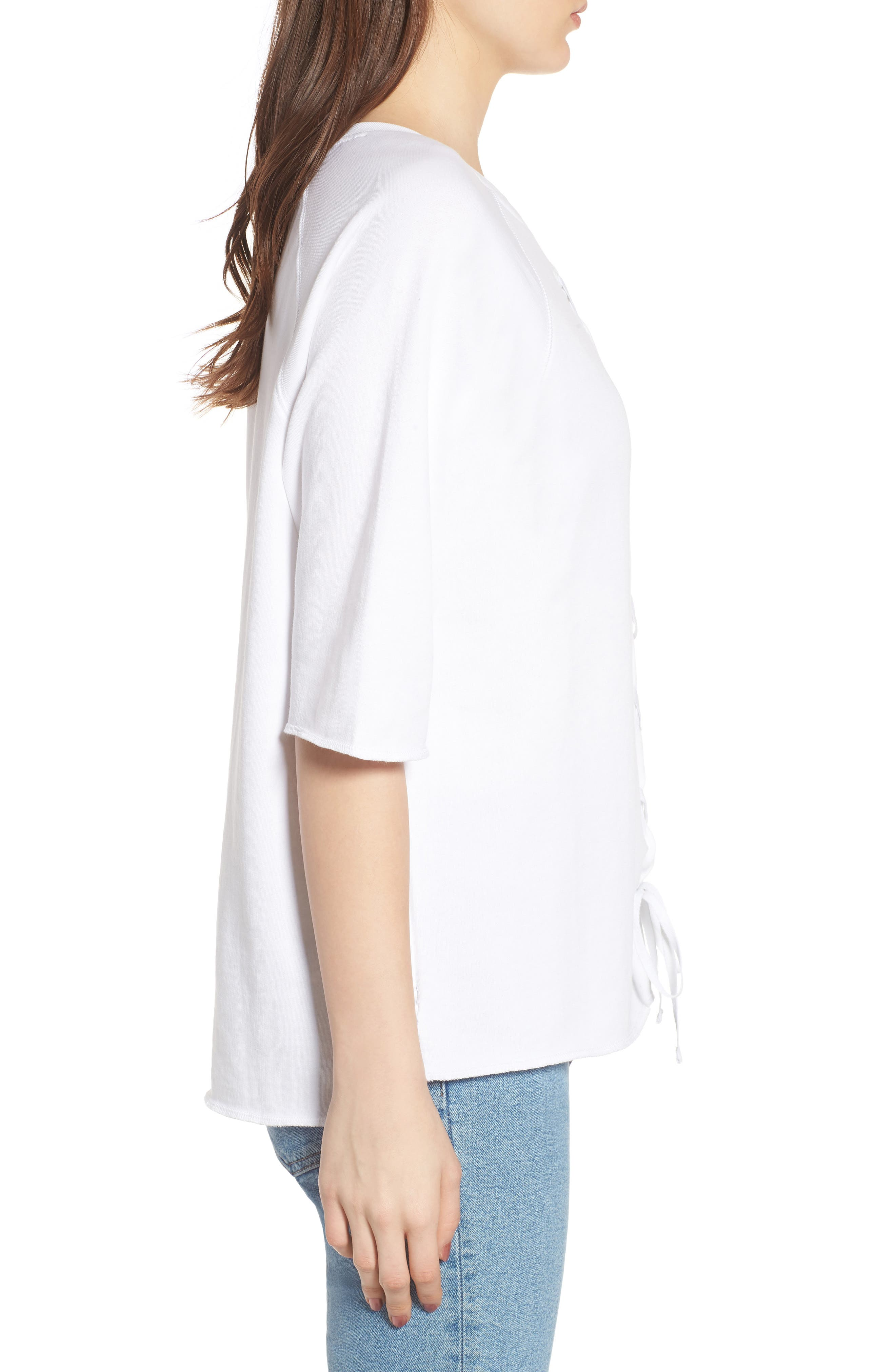 Julie - Vertical Eyelets Terry Top,                             Alternate thumbnail 3, color,                             White