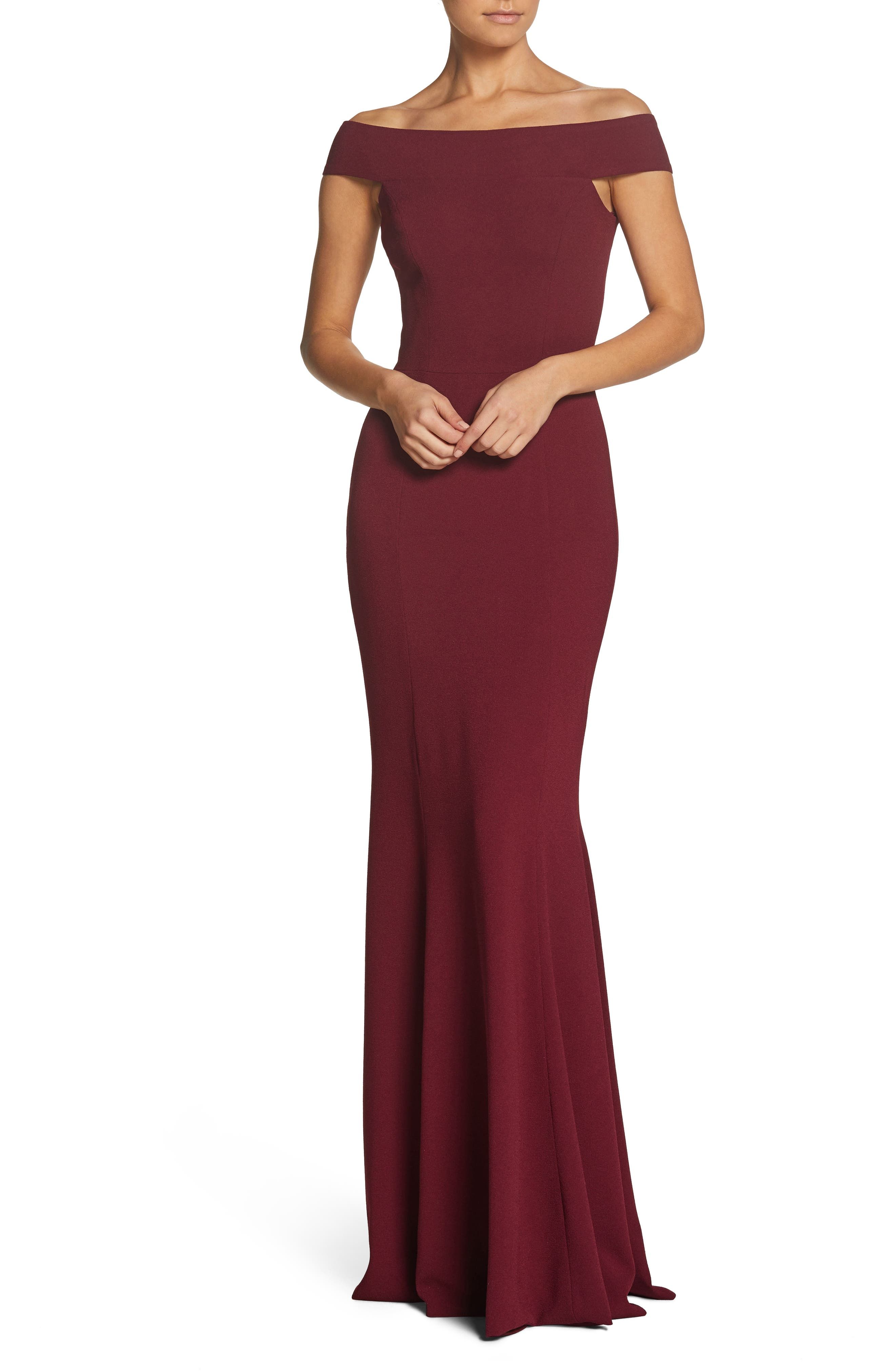 Alternate Image 1 Selected - Dress the Population Jackie Off the Shoulder Crepe Trumpet Gown