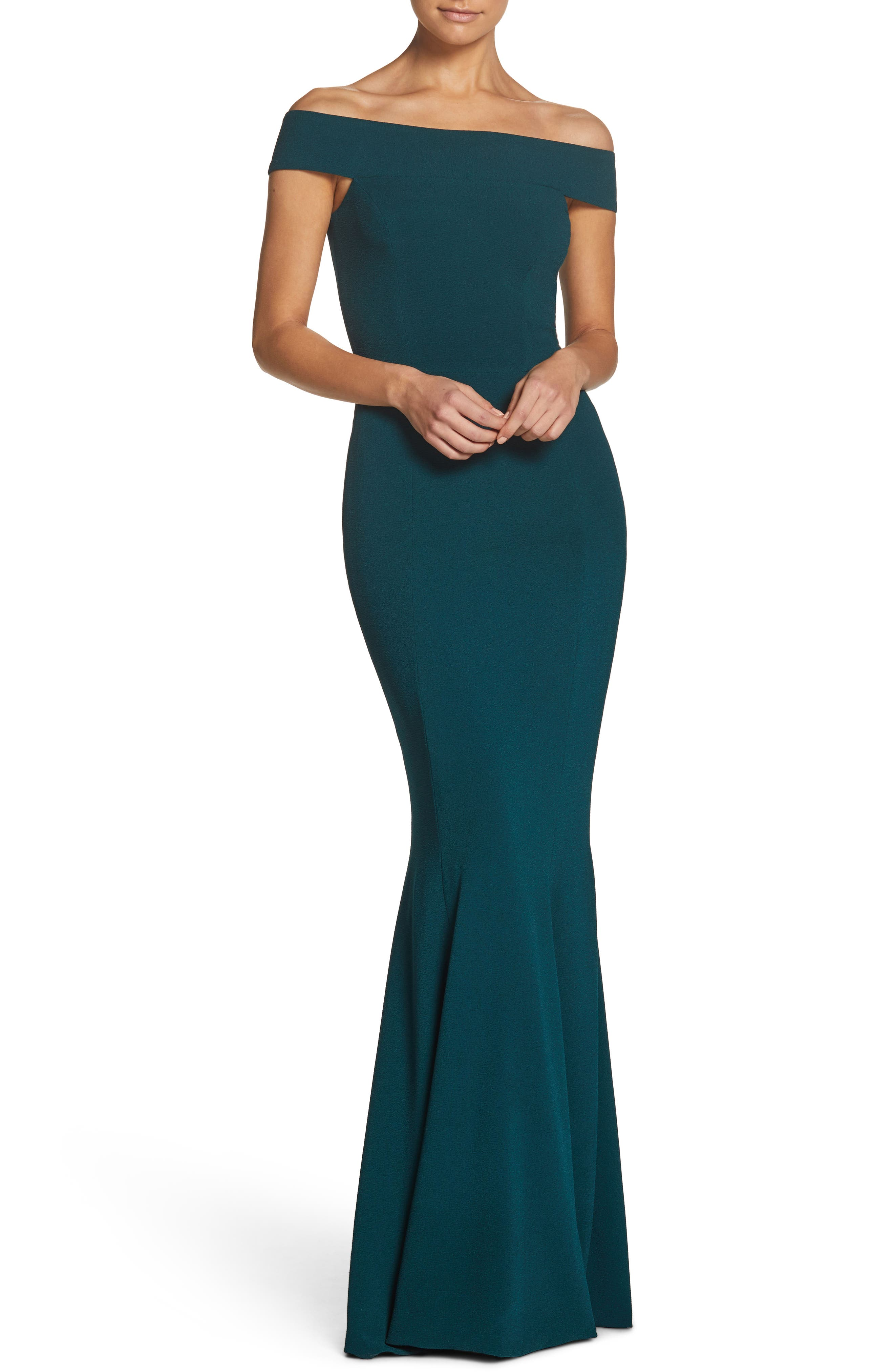 Dress the Population Jackie Off the Shoulder Crepe Trumpet Gown