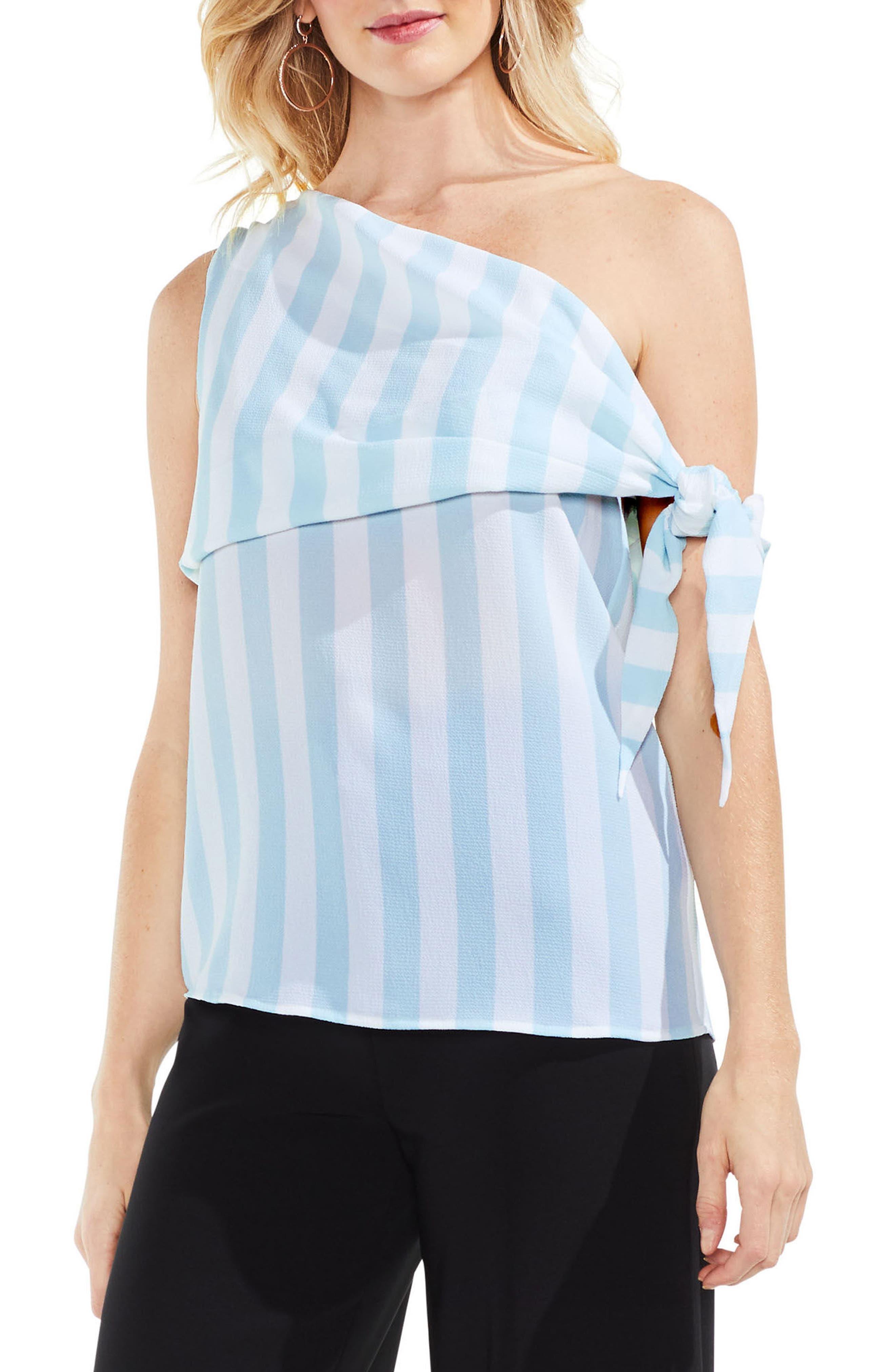 Spectator Stripe One-Shoulder Blouse,                             Main thumbnail 1, color,                             Aqua Glow