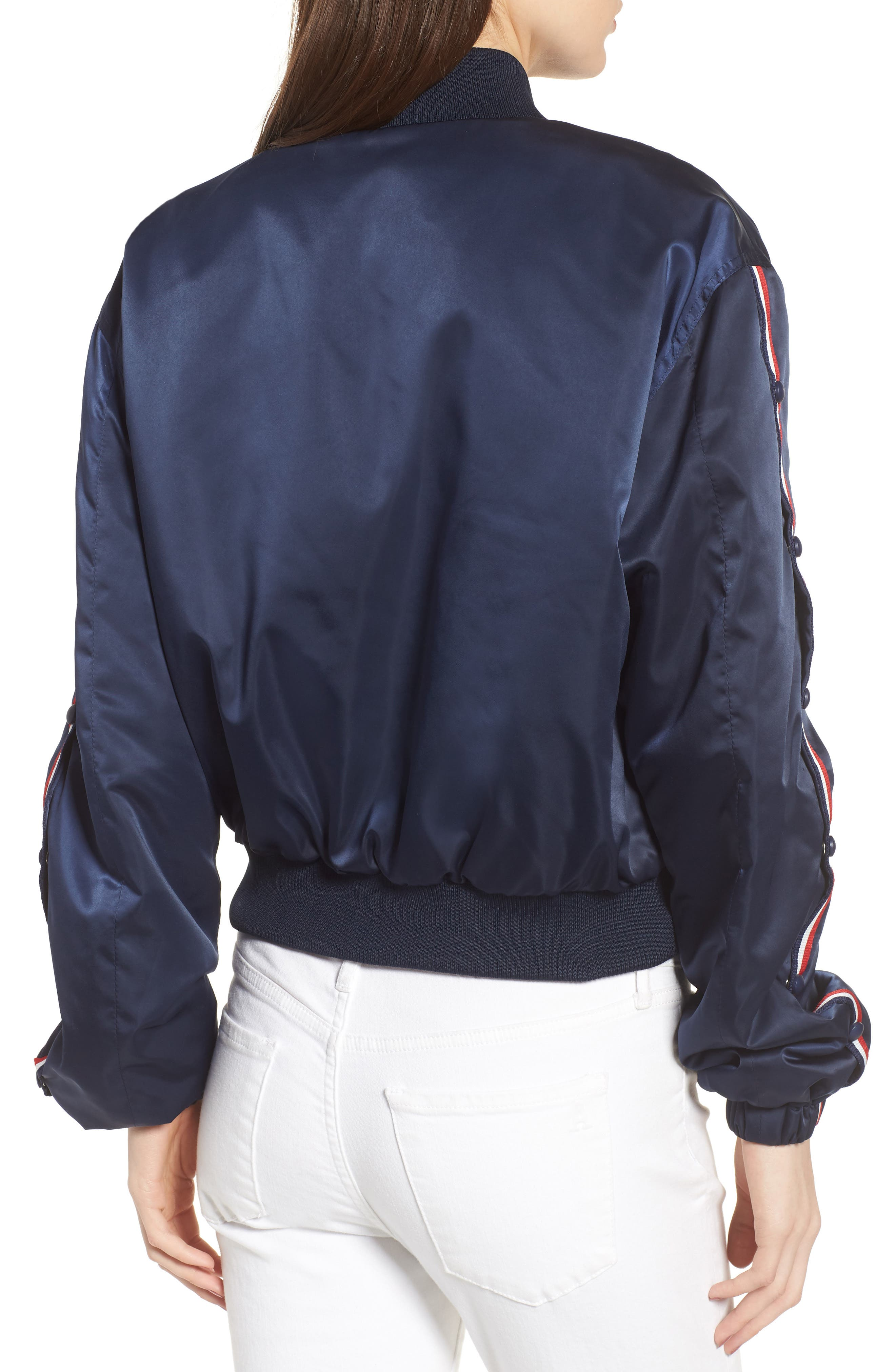 Bomber Jacket,                             Alternate thumbnail 2, color,                             Navy/ Red/ White