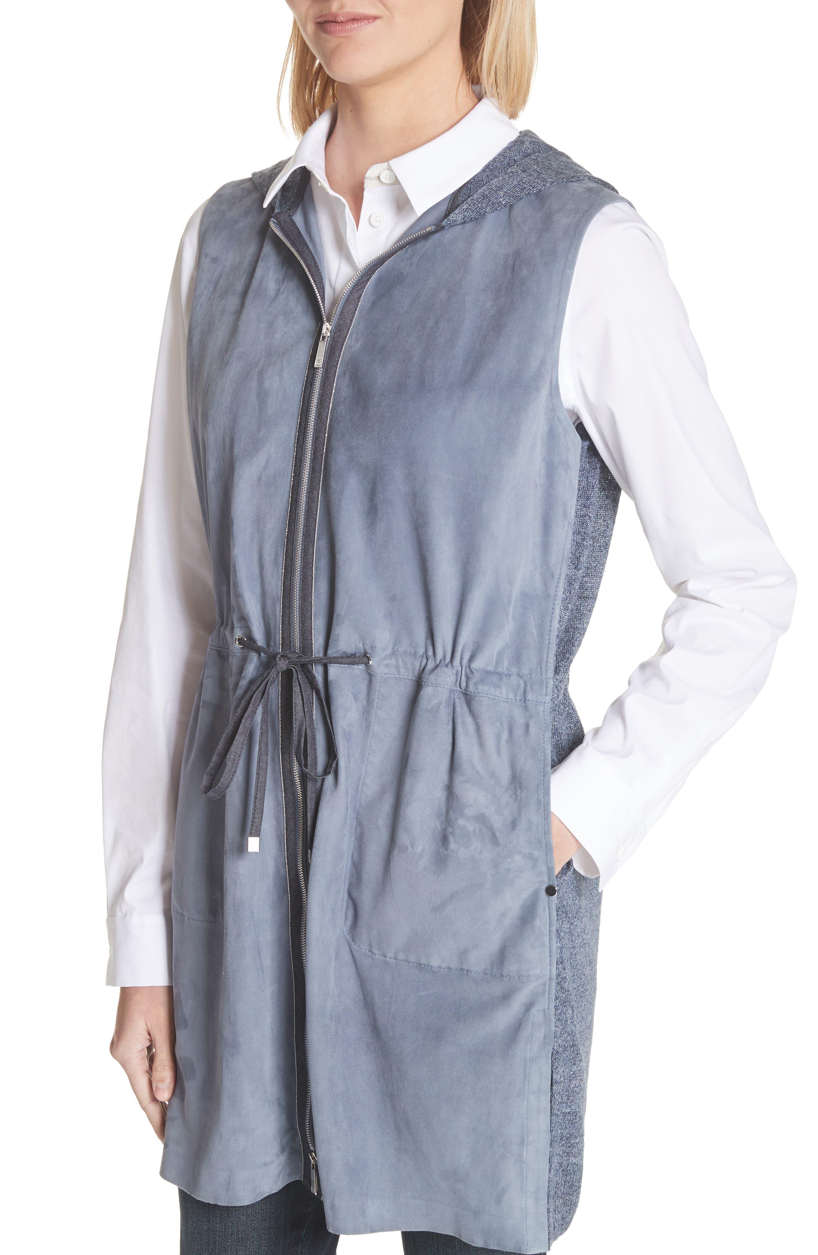 Salma Suede Front Longline Vest,                             Alternate thumbnail 4, color,                             Celestial Blue
