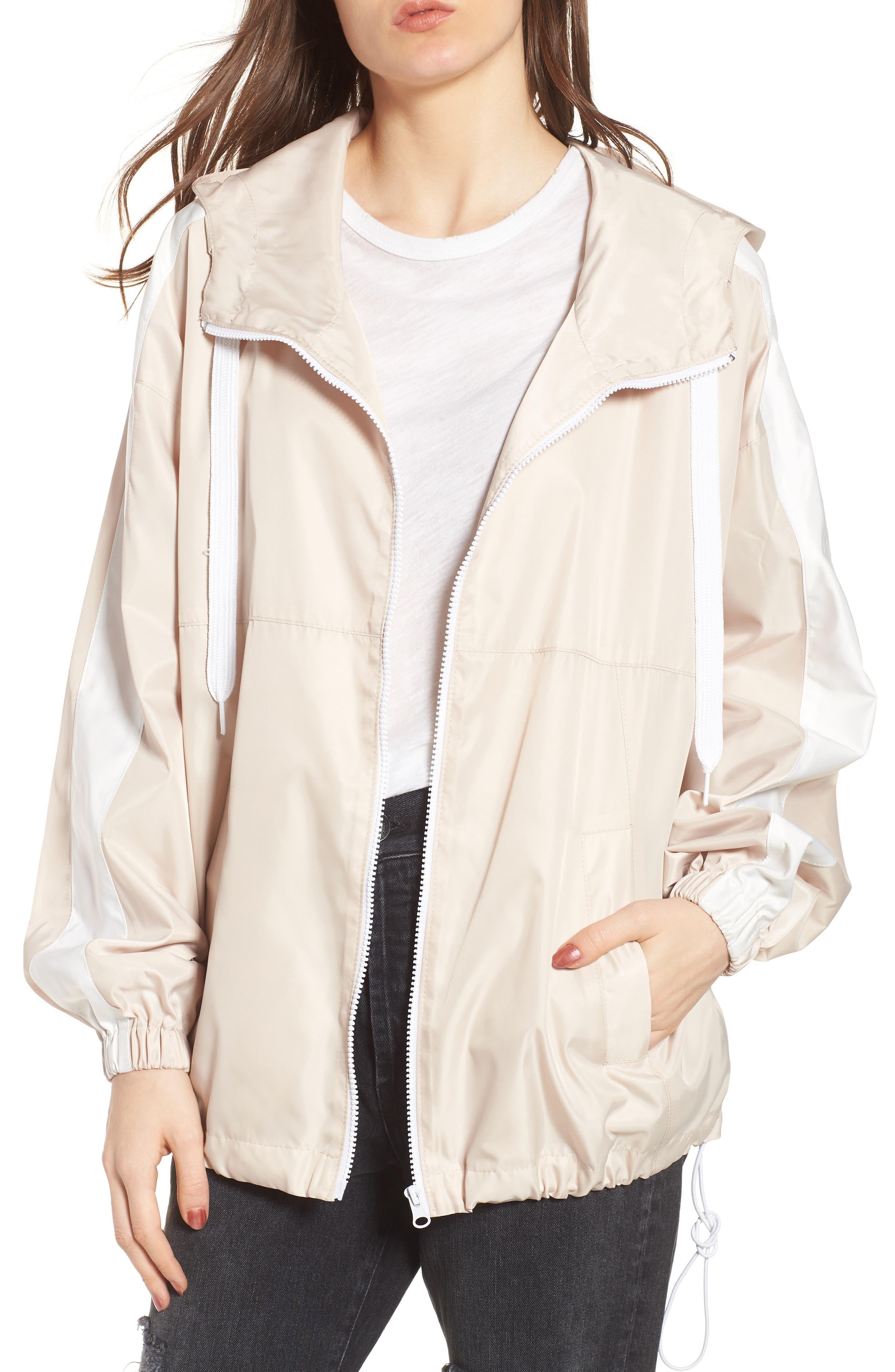 Stripe Hooded Jacket,                             Main thumbnail 1, color,                             Blush