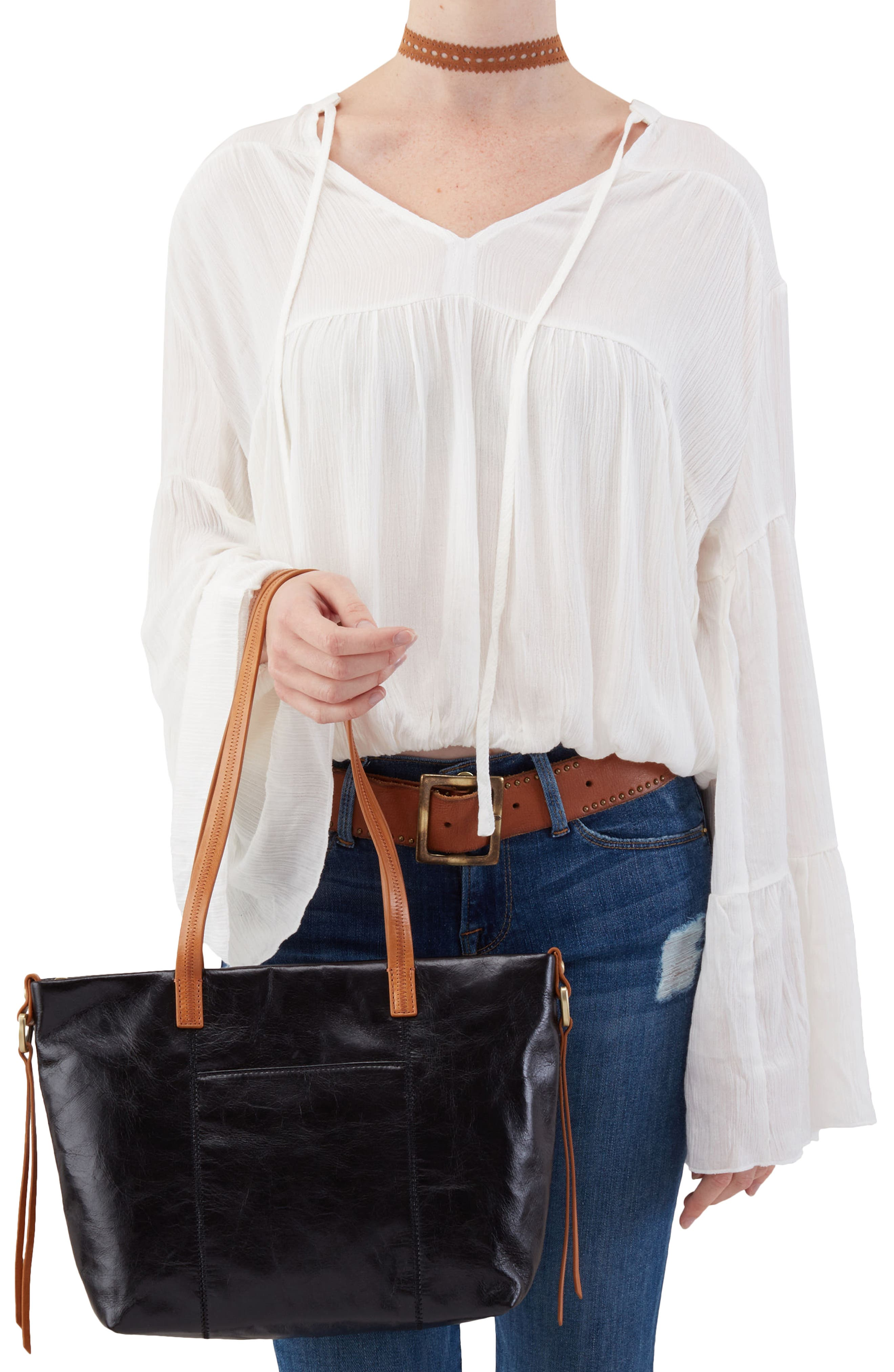 Cecily Leather Tote,                             Alternate thumbnail 2, color,                             Black