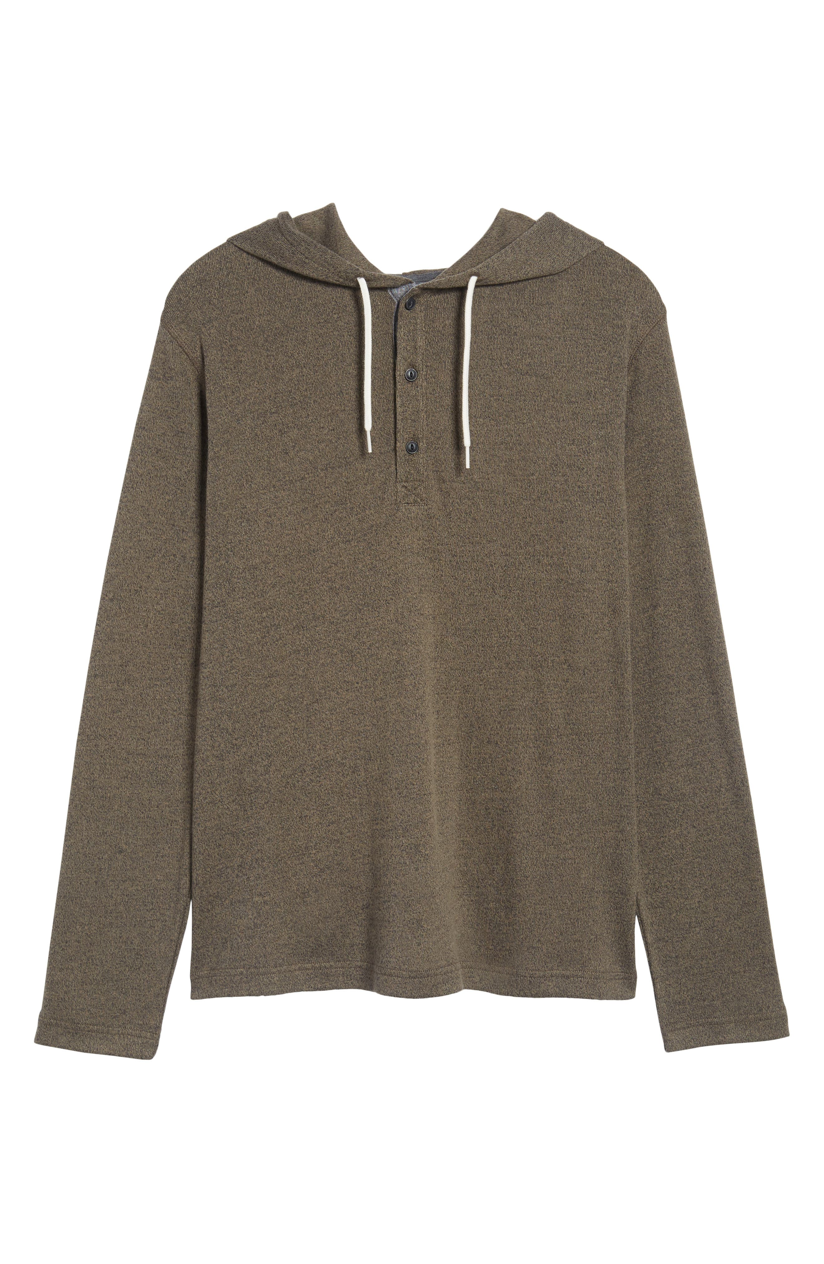 Knit Hooded Pullover,                             Alternate thumbnail 6, color,                             Olive Tarmac Heather