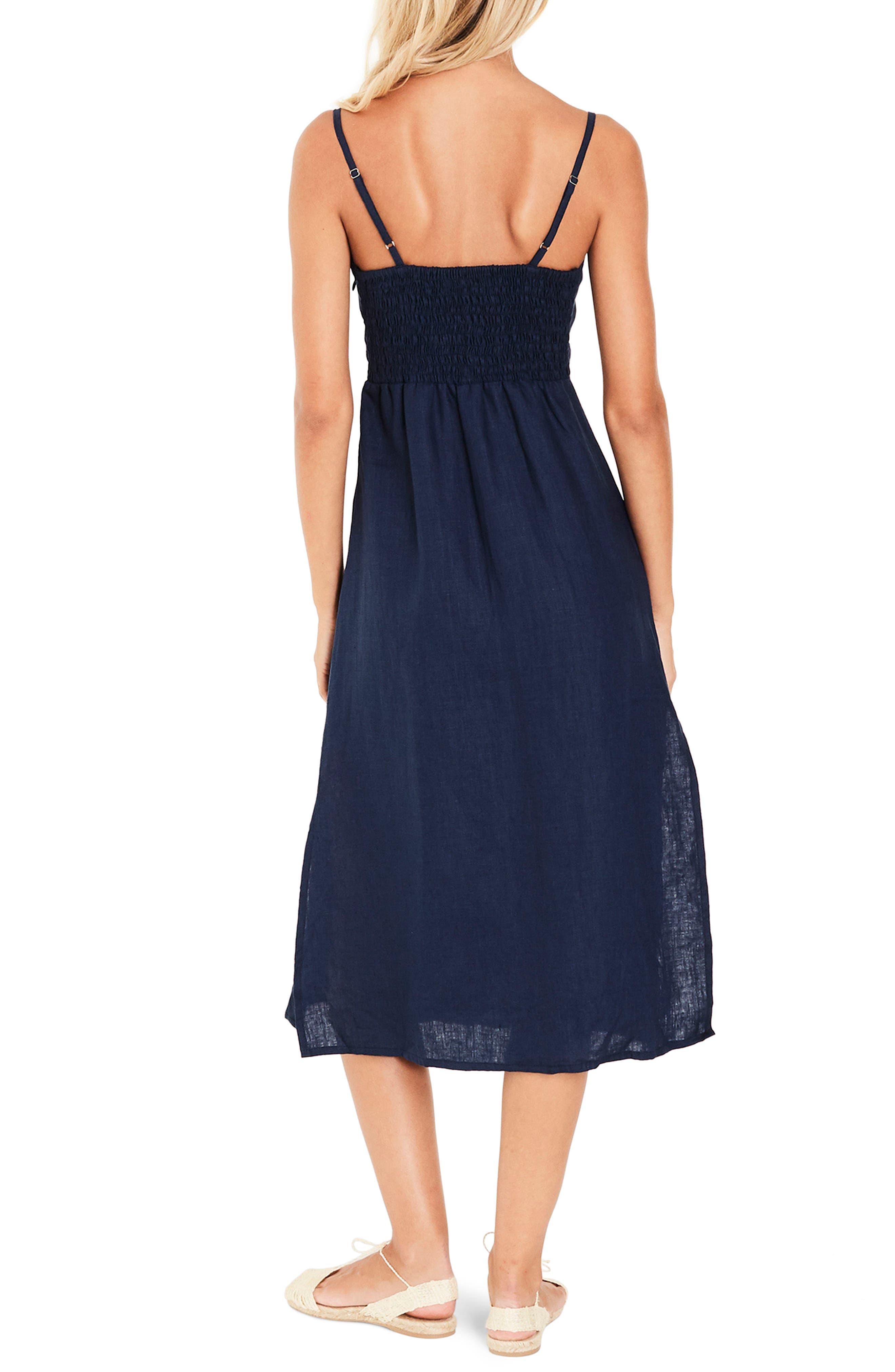 Knot Front Linen Midi Dress,                             Alternate thumbnail 3, color,                             Plain Vintage Blue Linen