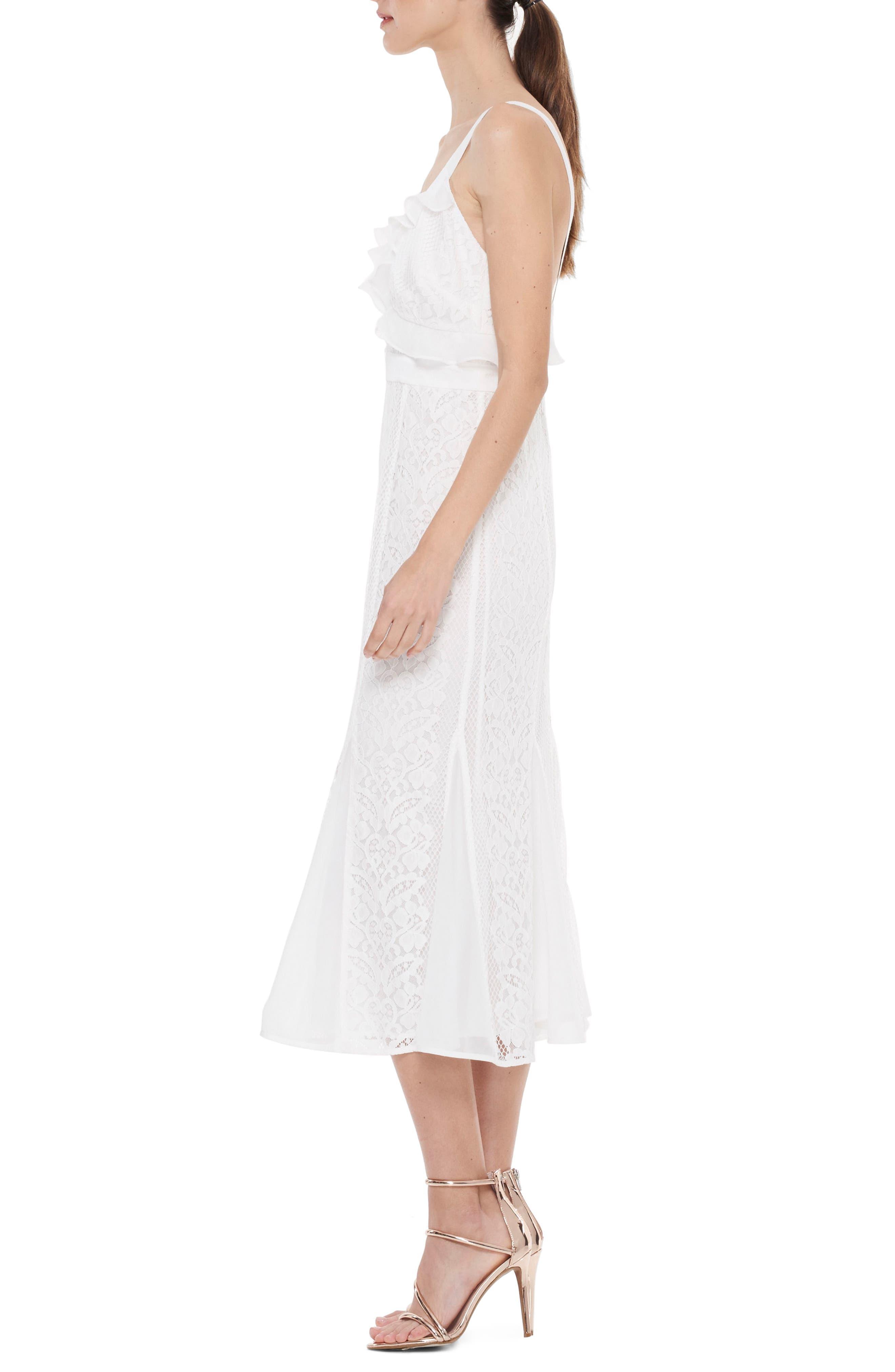 Adoring Ruffle Lace Midi Dress,                             Alternate thumbnail 3, color,                             White
