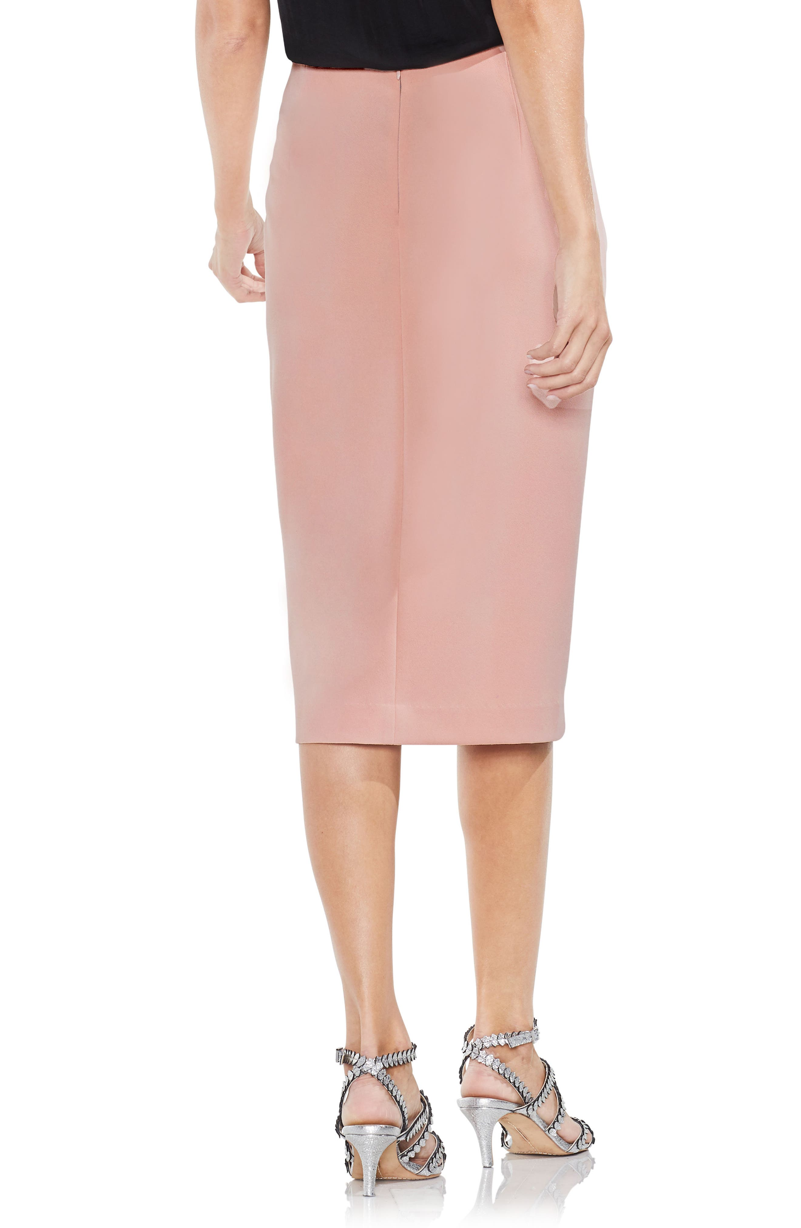 Ruffle Front Ponte Knit Pencil Skirt,                             Alternate thumbnail 2, color,                             Wild Rose