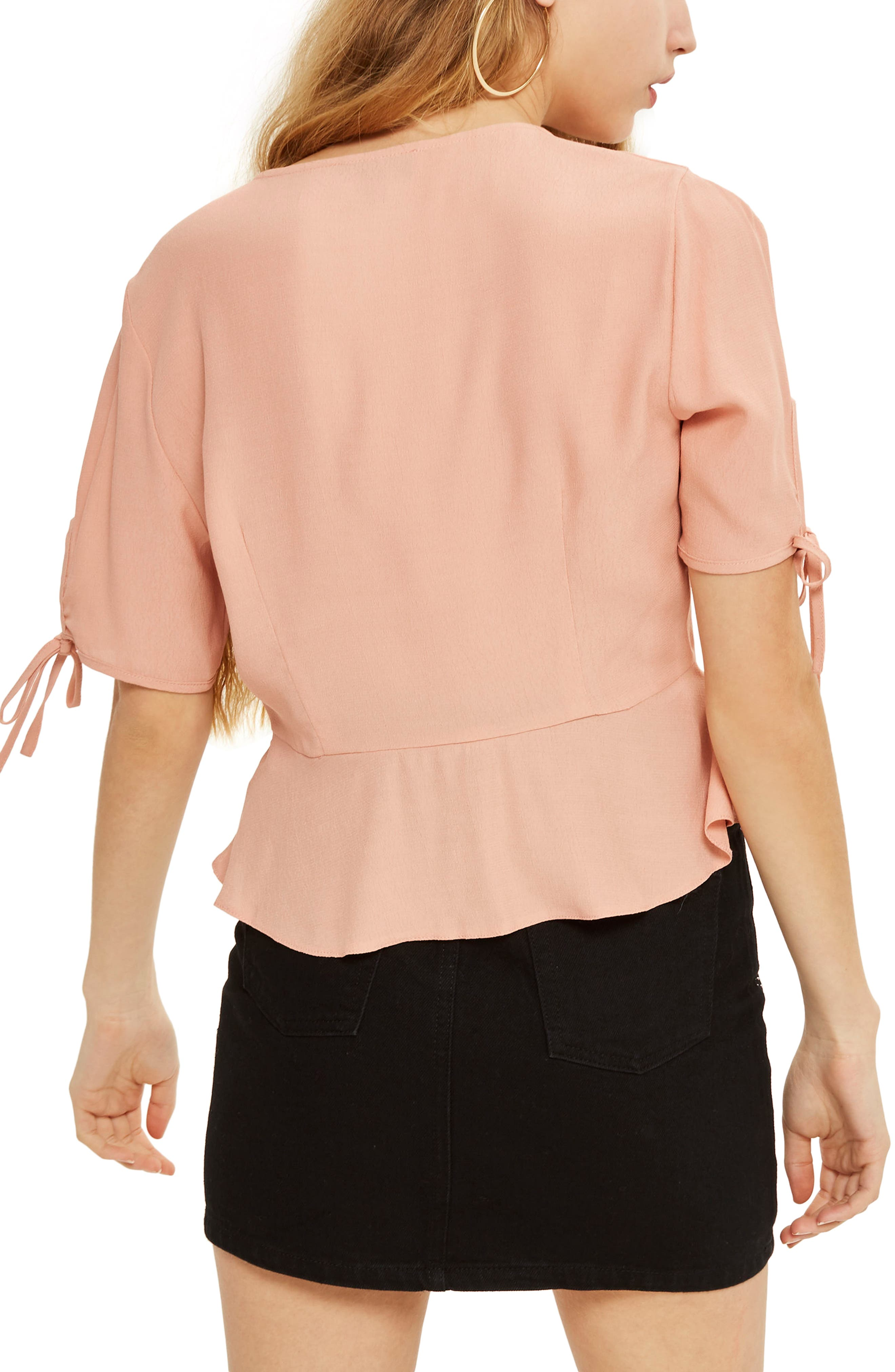 Alternate Image 2  - Topshop Tie Cuff Blouse