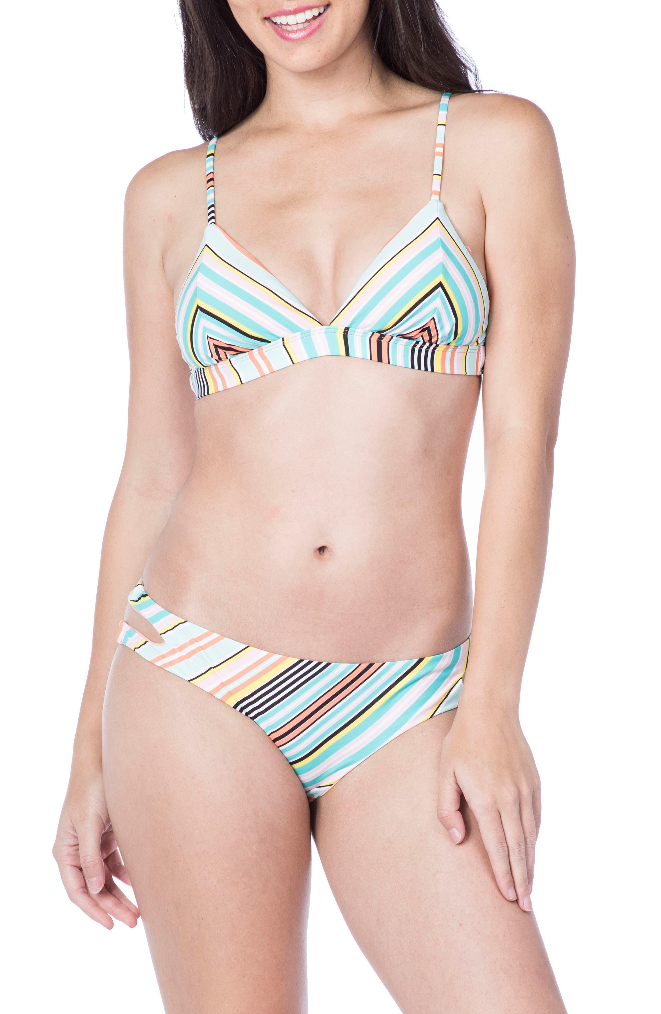 Stripe Triangle Bikini Top,                             Alternate thumbnail 3, color,                             Multi