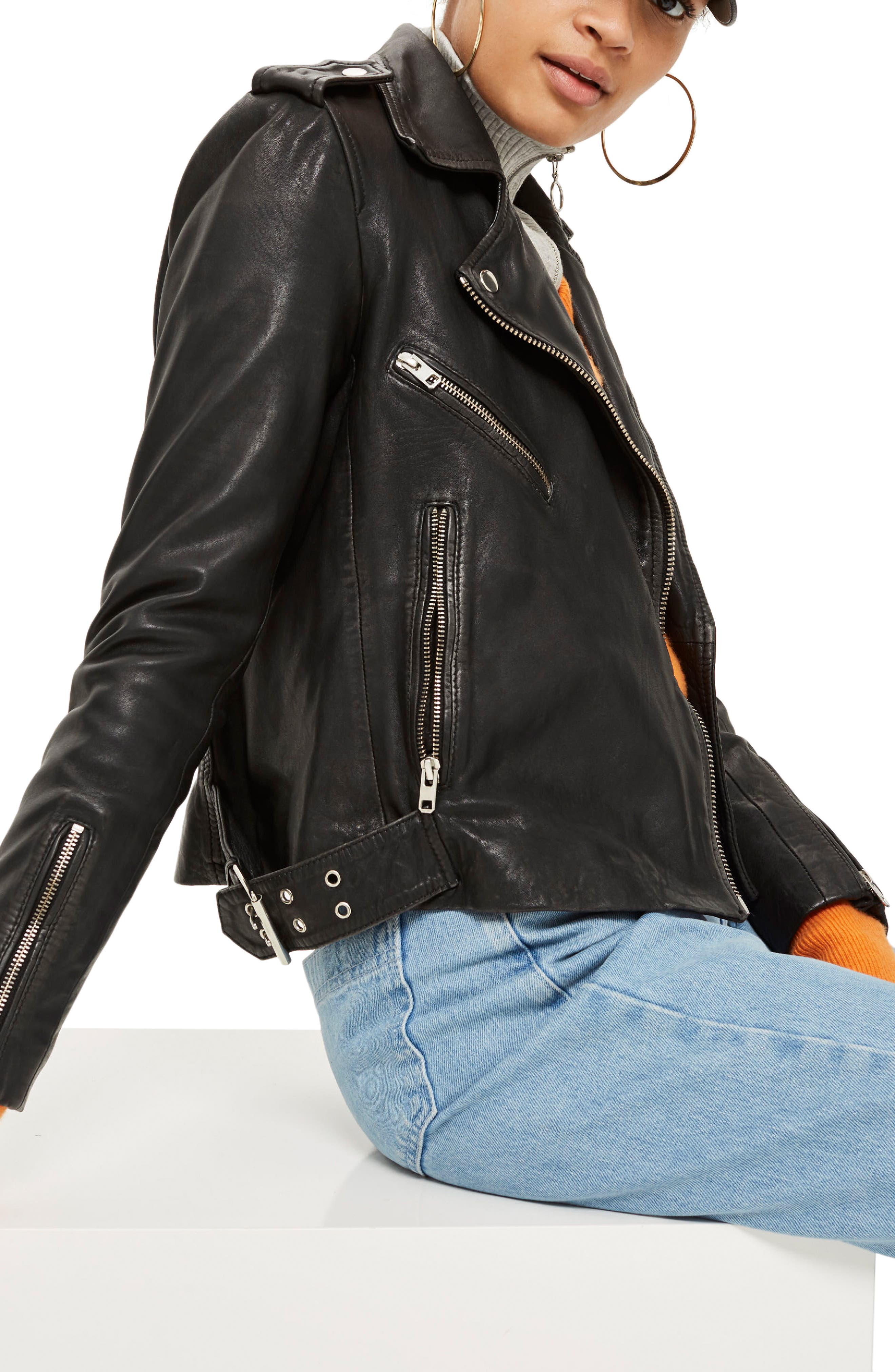 Strike Leather Biker Jacket,                             Alternate thumbnail 3, color,                             Black