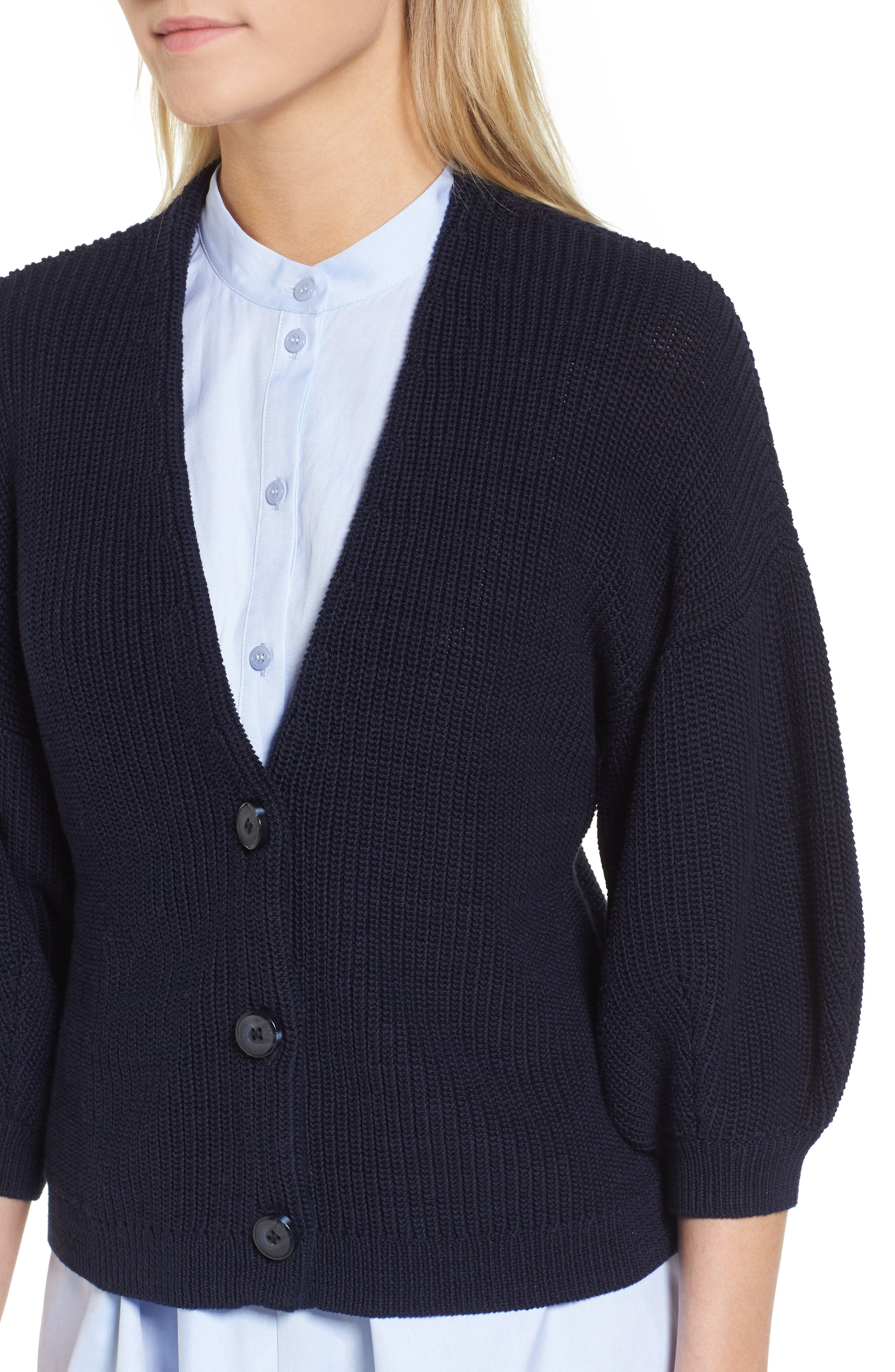 V-Neck Cotton Cardigan,                             Alternate thumbnail 4, color,                             Navy Night
