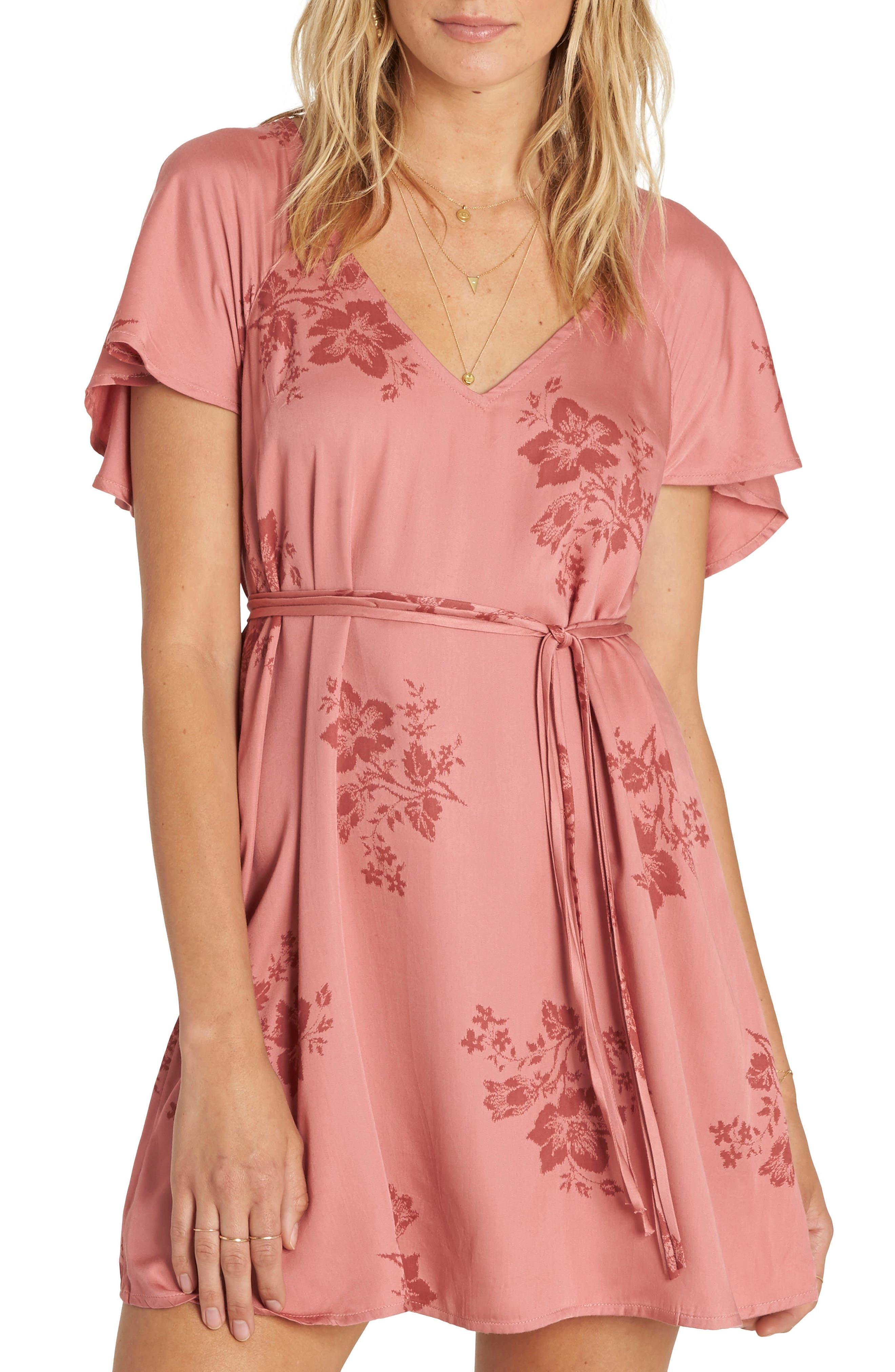 Fine Flutter Floral Dress,                         Main,                         color, Sunburnt