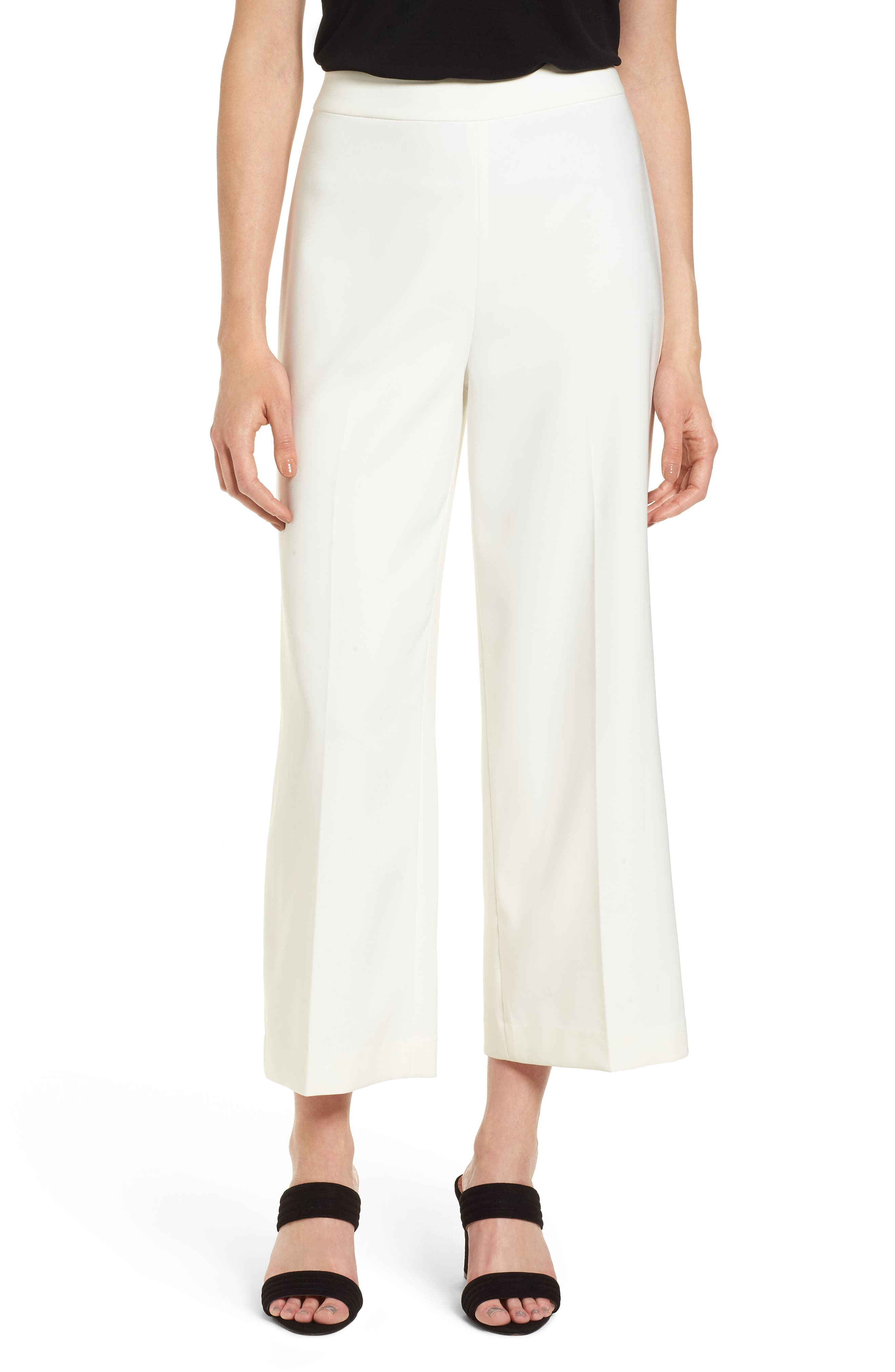 High-Waist Crop Pants,                         Main,                         color, New Ivory