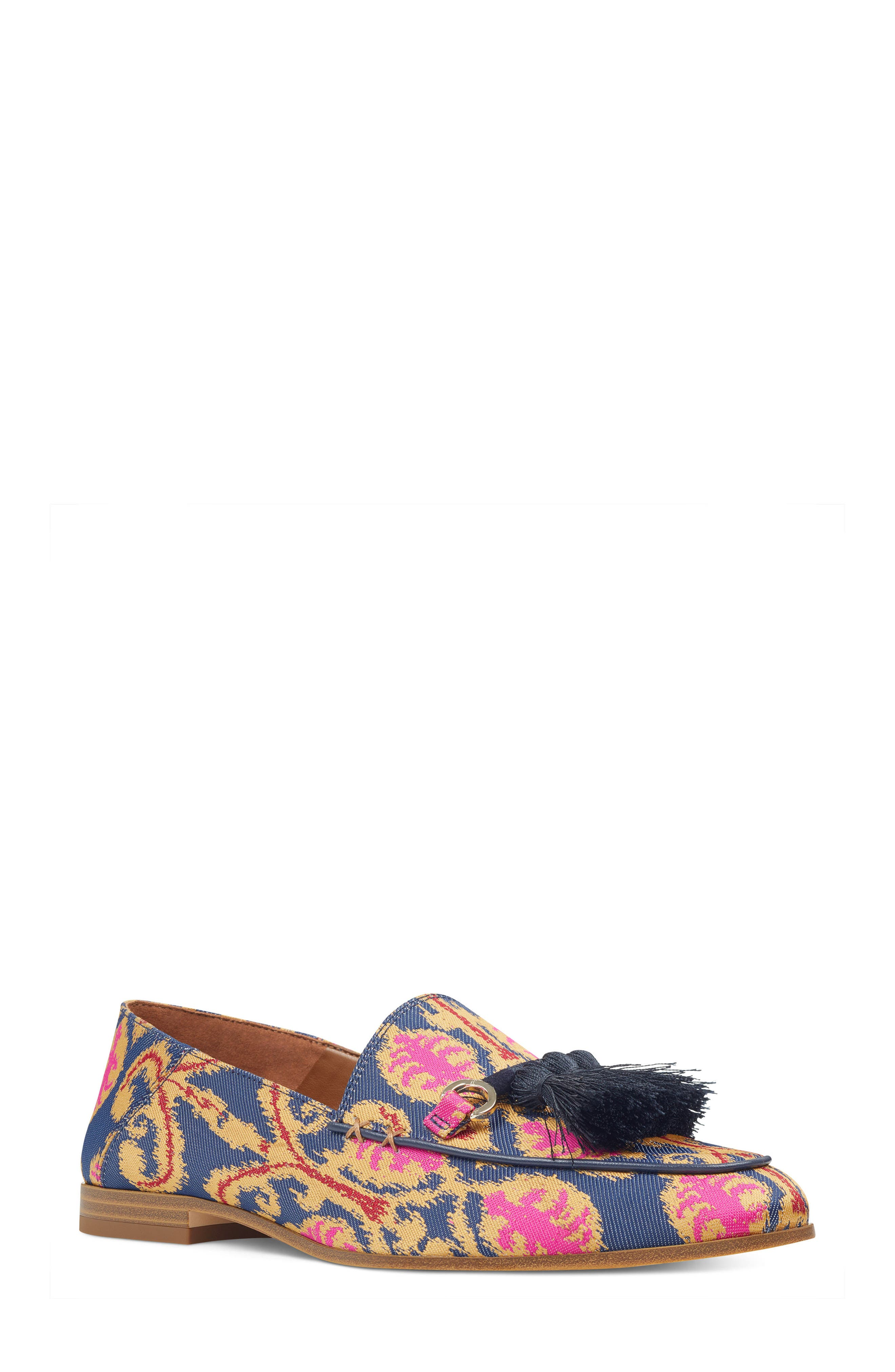 Weslir Tassel Loafer,                             Main thumbnail 1, color,                             Blue Multi Fabric