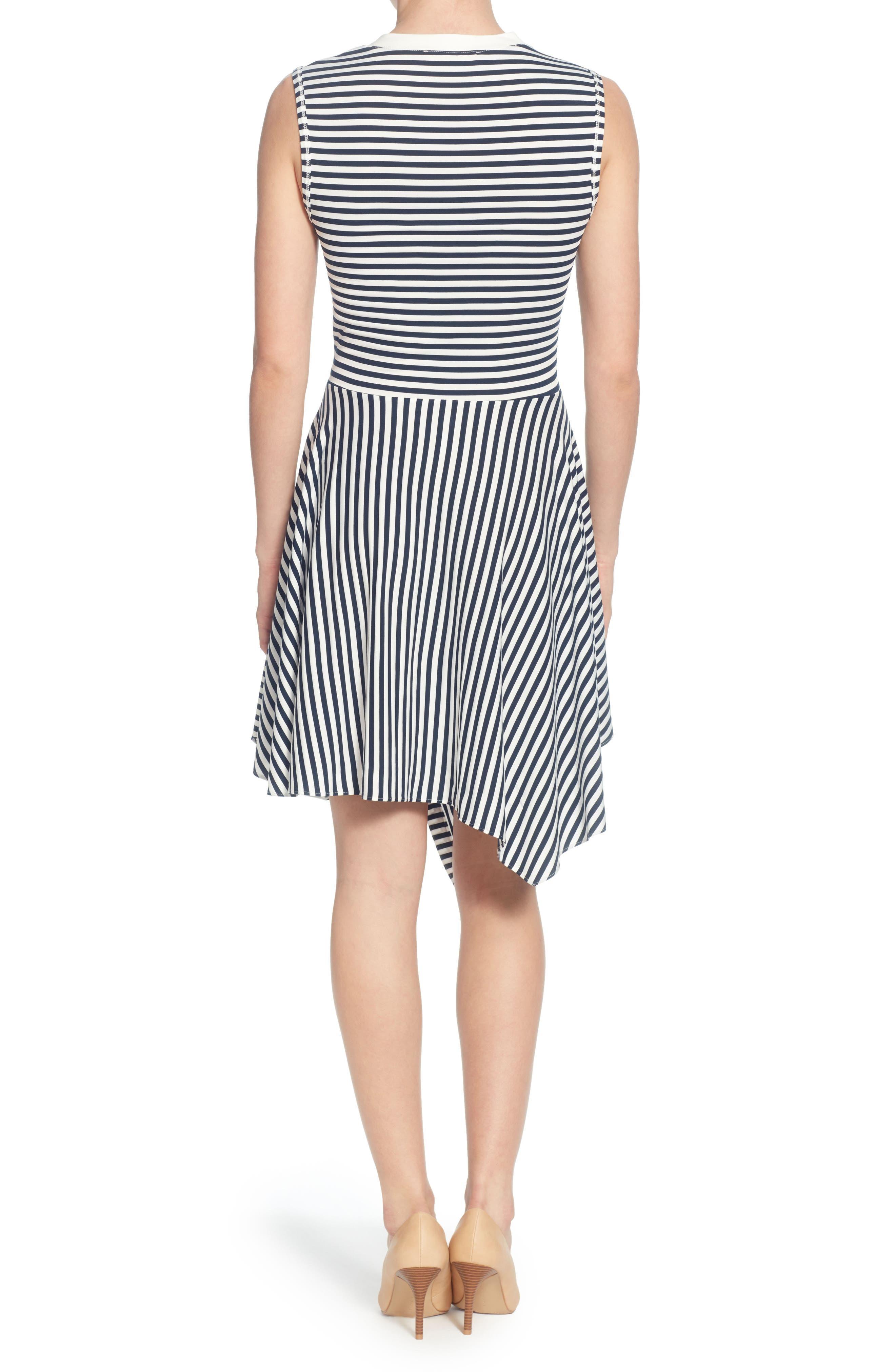 Pattern Mix Asymmetrical Stripe Dress,                             Alternate thumbnail 2, color,                             Blue/ White Stripe