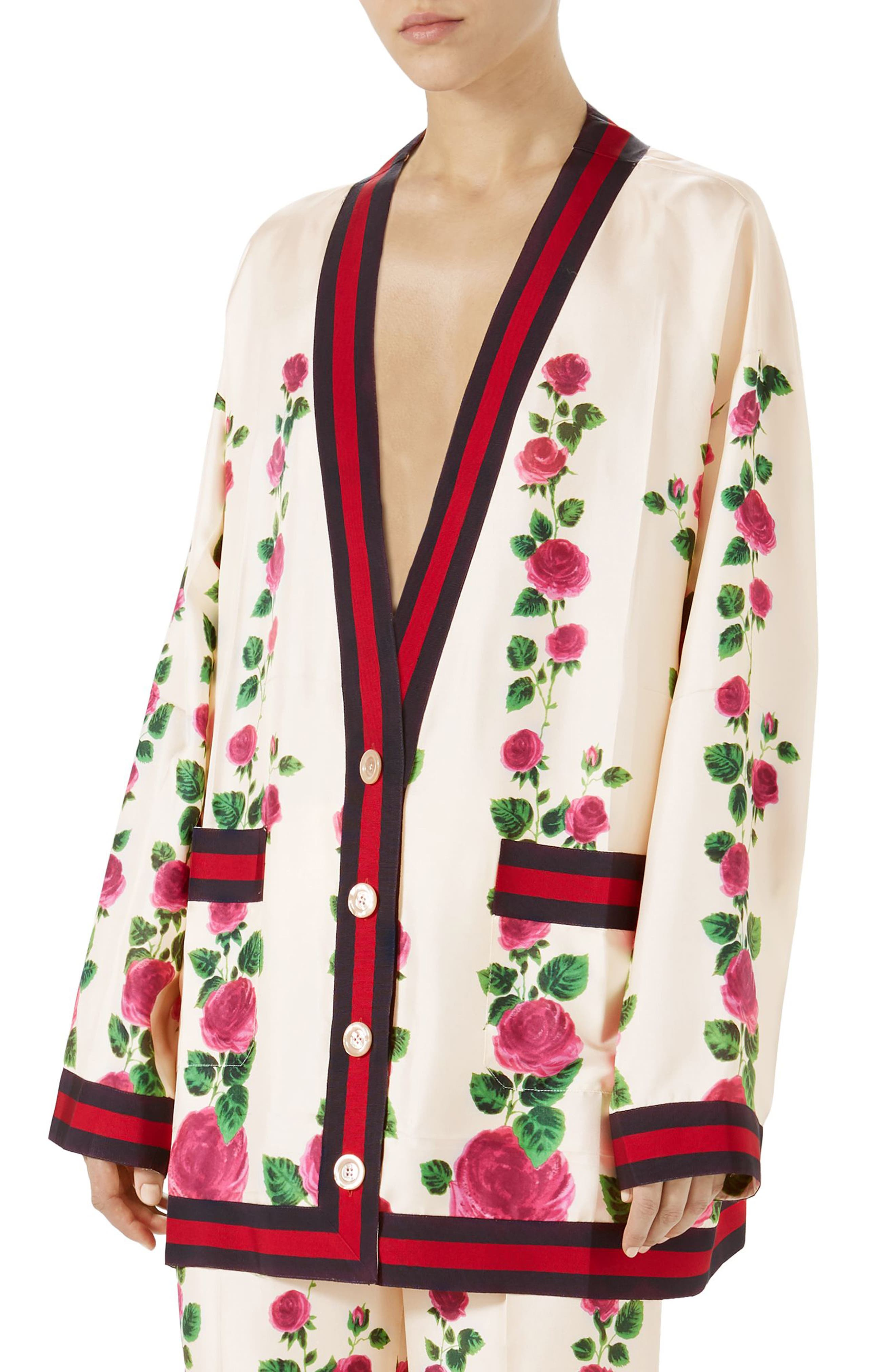 Gucci Stripe Trim Rose Print Silk Cardigan