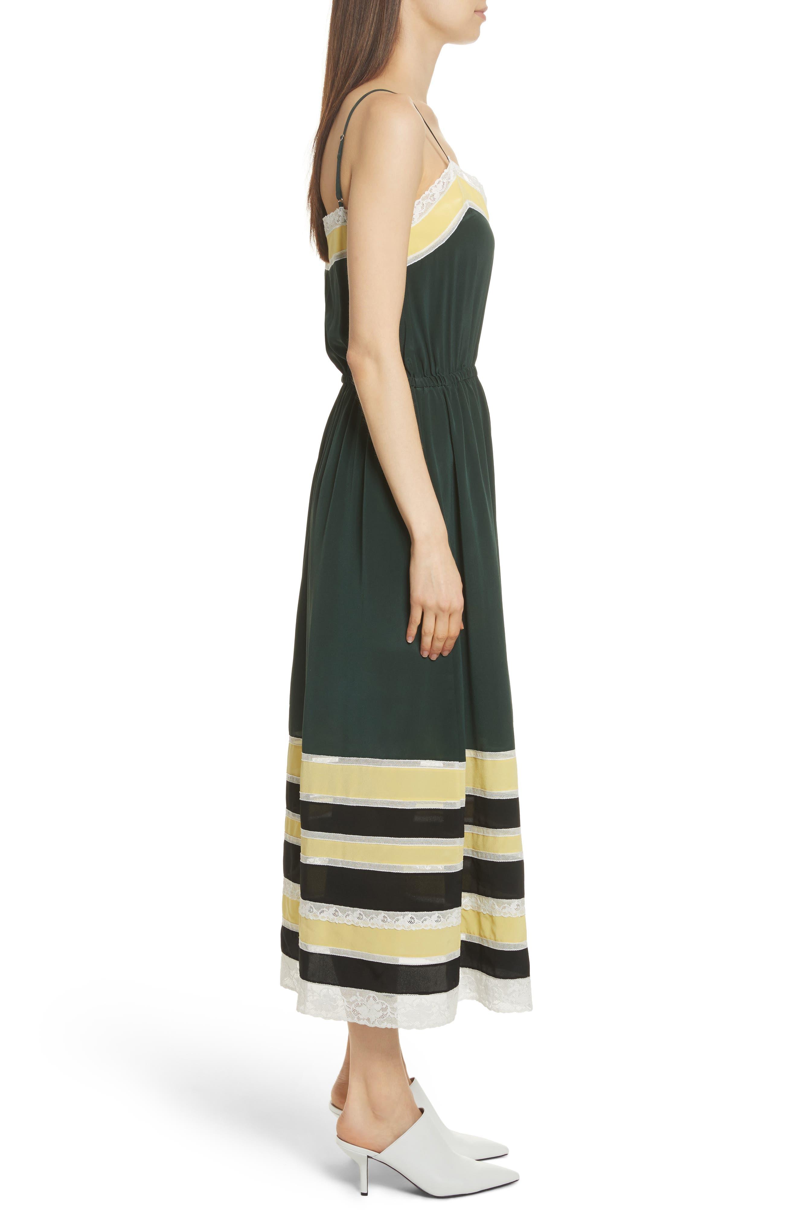 Lace Trim Silk Slipdress,                             Alternate thumbnail 3, color,                             Green Combo