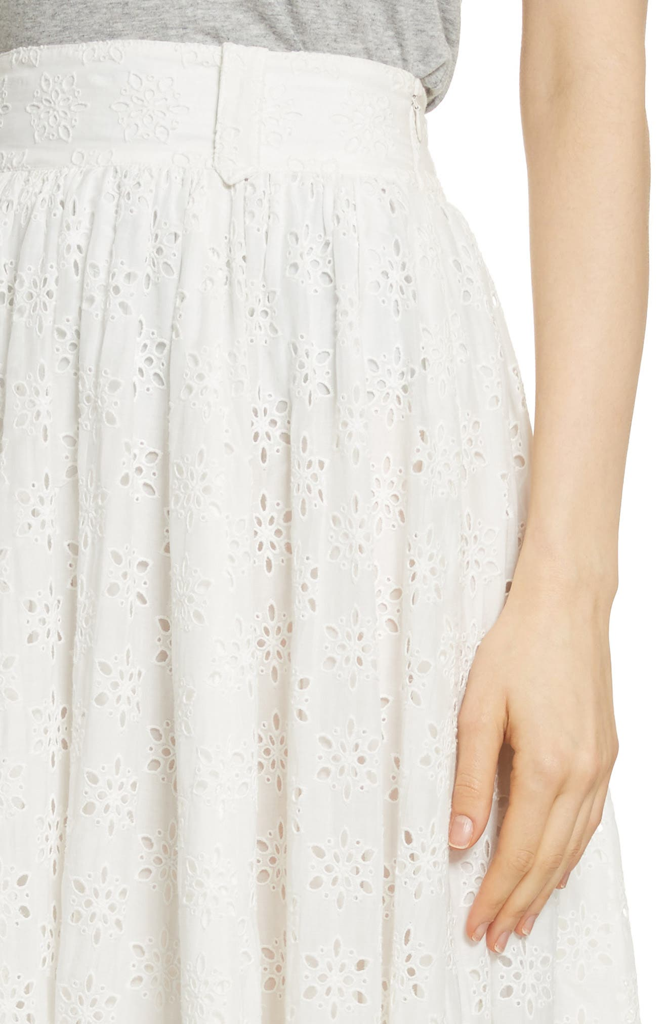 Eyelet Maxi Skirt,                             Alternate thumbnail 5, color,                             Ivory