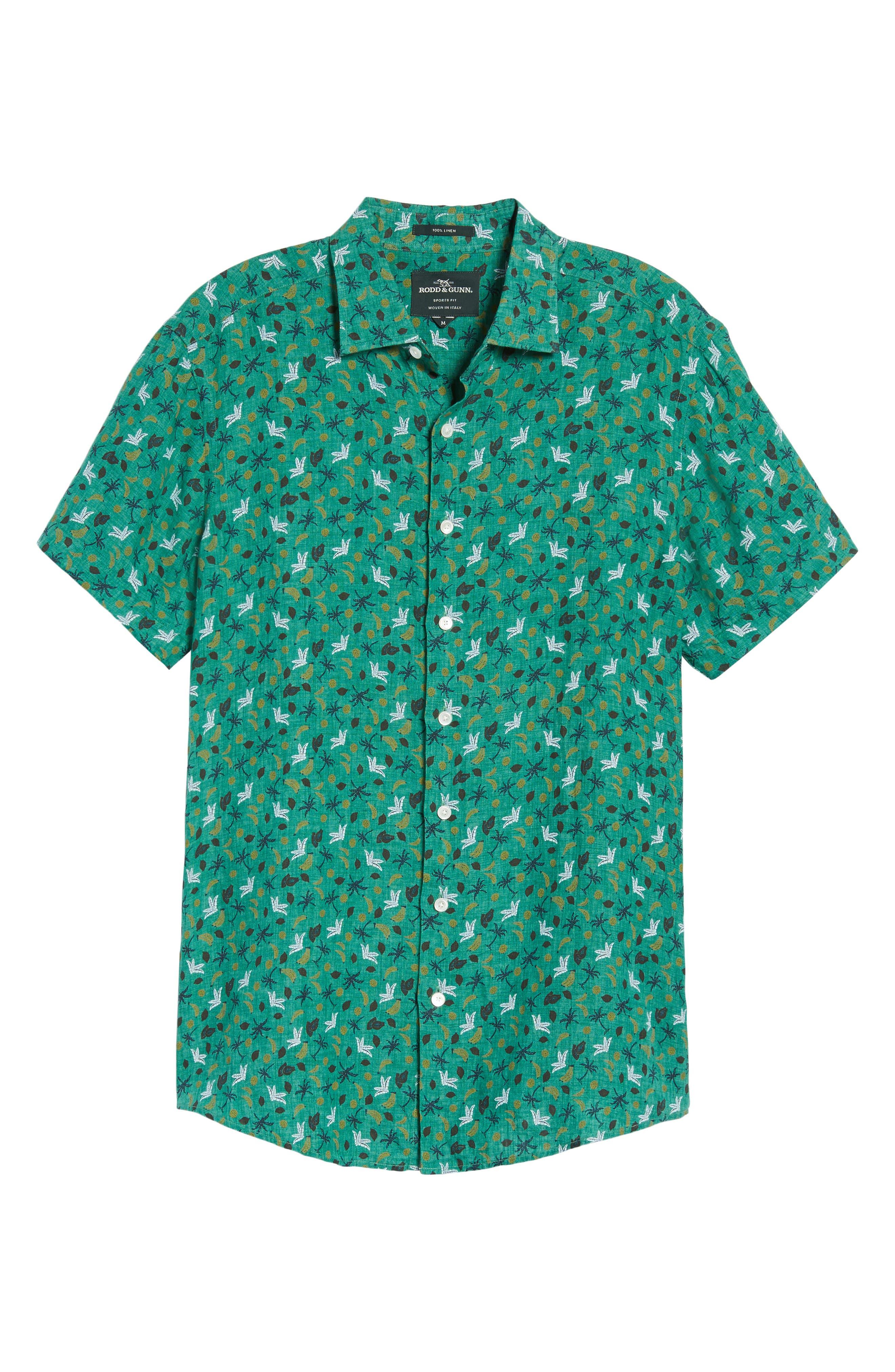 Canoe Creek Tropical Print Linen Sport Shirt,                             Alternate thumbnail 6, color,                             Bamboo