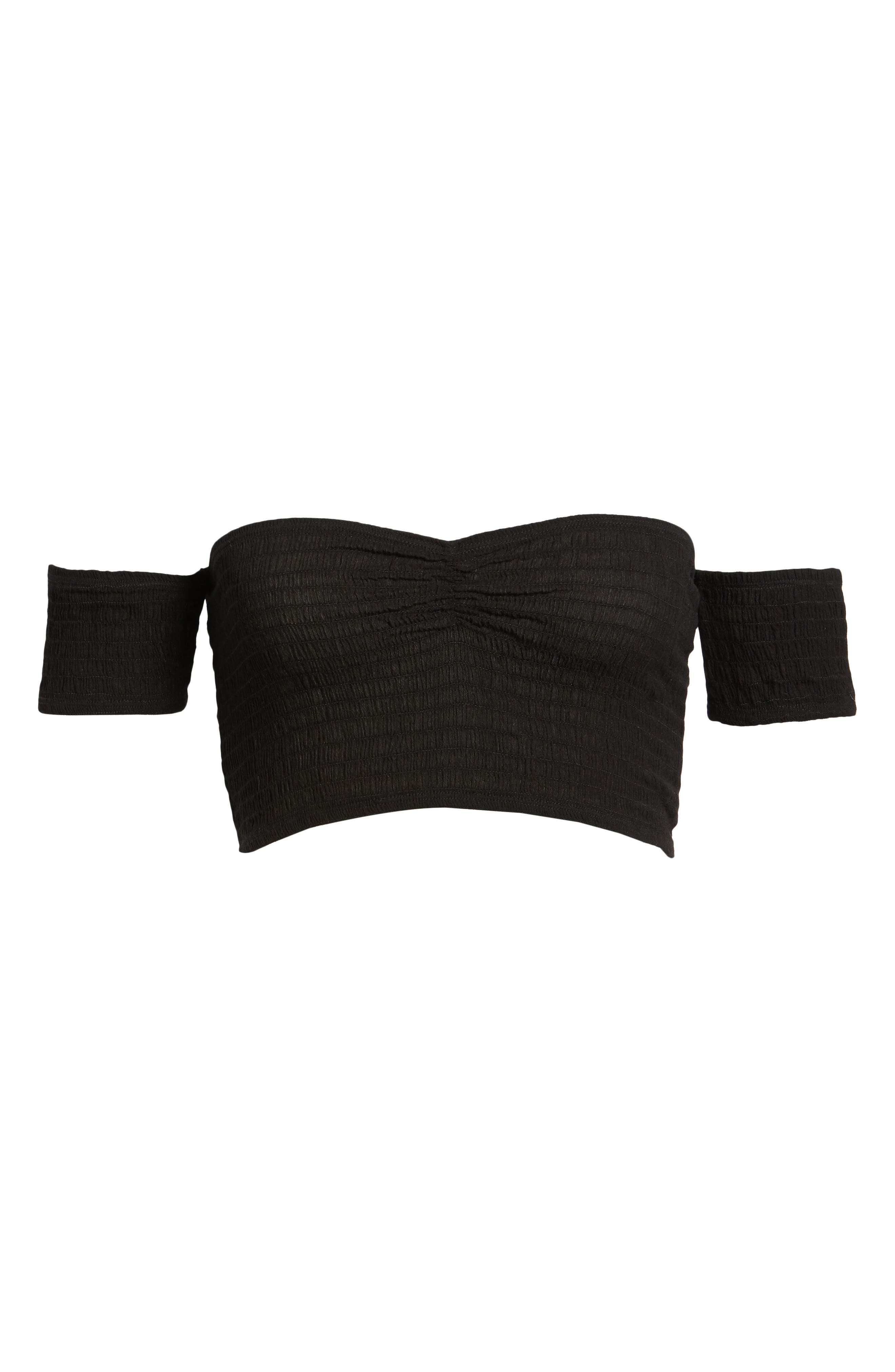 Addicted 2 Me Smocked Crop Top,                             Alternate thumbnail 6, color,                             Black