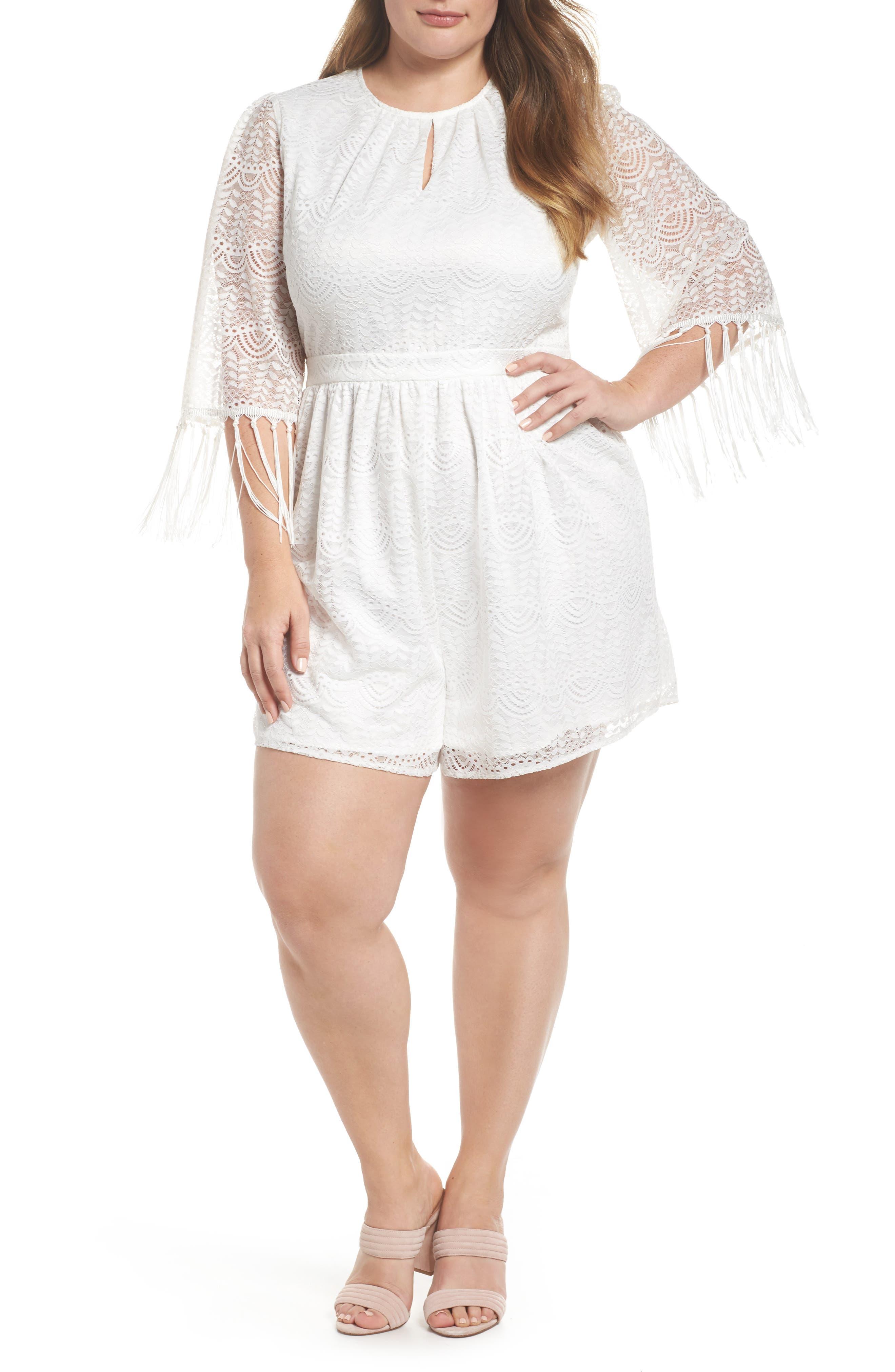 Glamorous Tassel Sleeve Lace Romper (Plus Size)