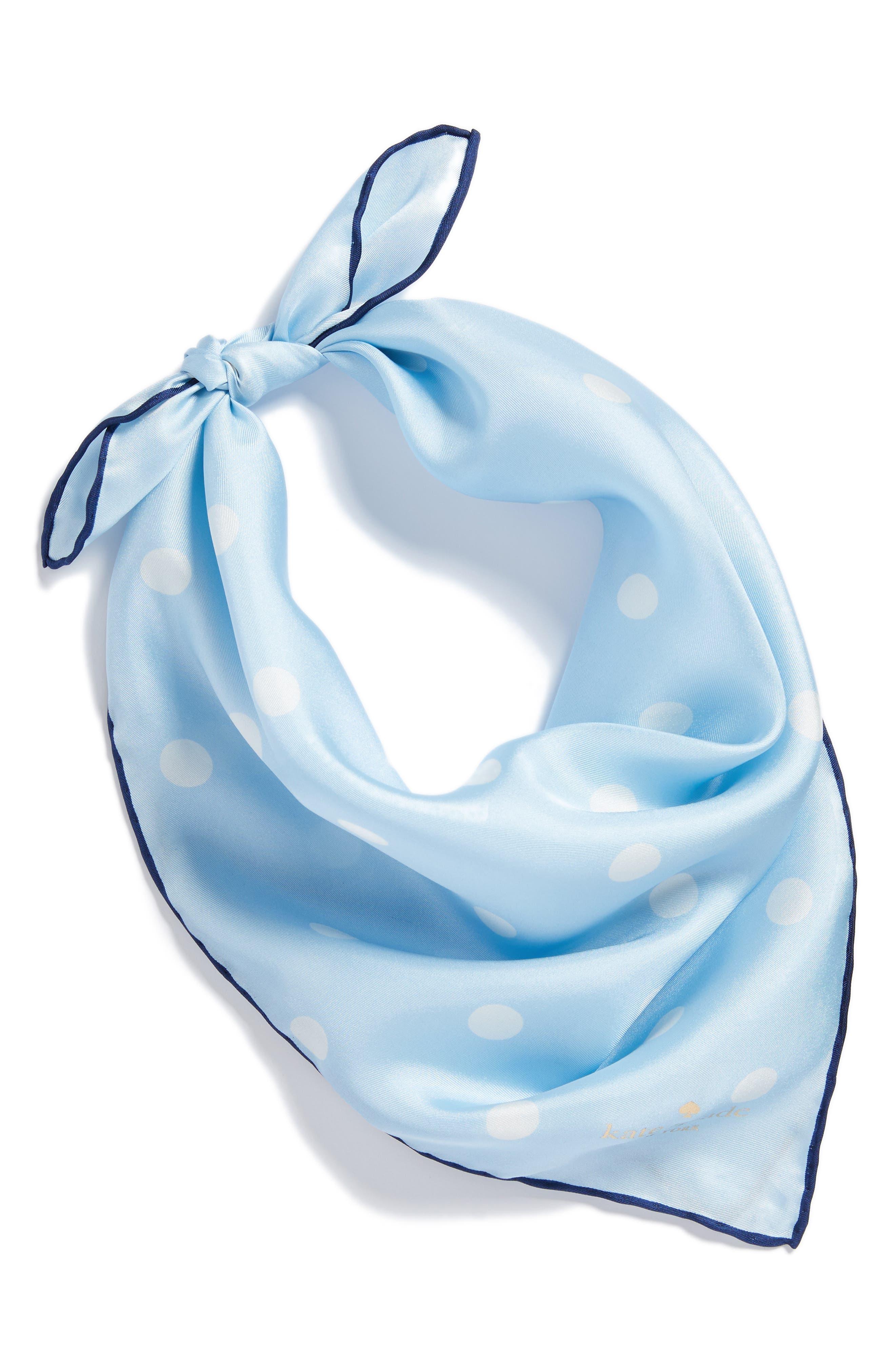 dancing dot silk bandana,                             Alternate thumbnail 3, color,                             Bayside Blue/ French Navy